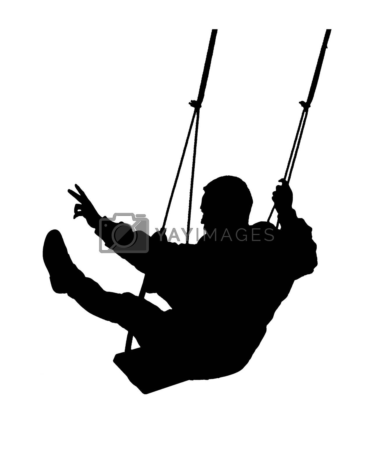 Graphic silhouette illustration man swinging isolated on white background