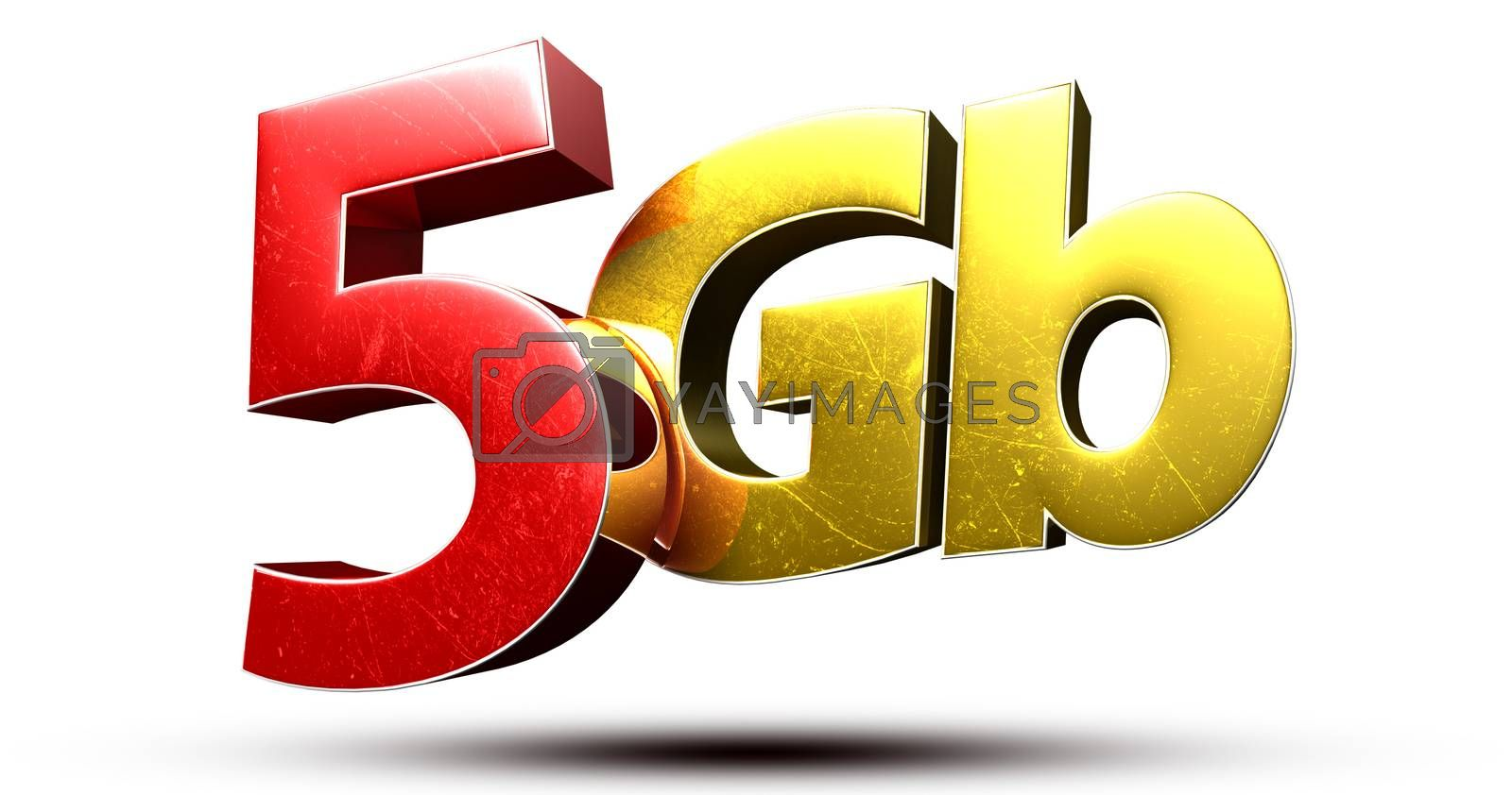 3D illustration 5Gb red gold isolated on a white background.(with Clipping Path).