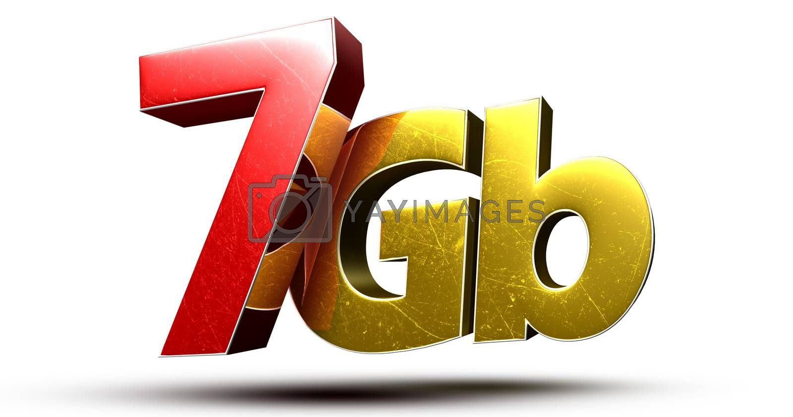 3D illustration 7Gb red gold isolated on a white background.(with Clipping Path).