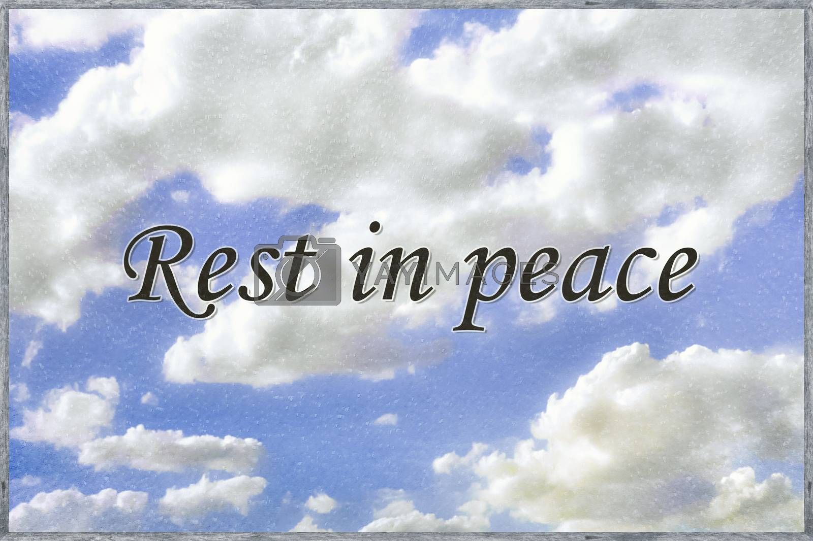 Funeral concept typographic style phrase over cloud sky background