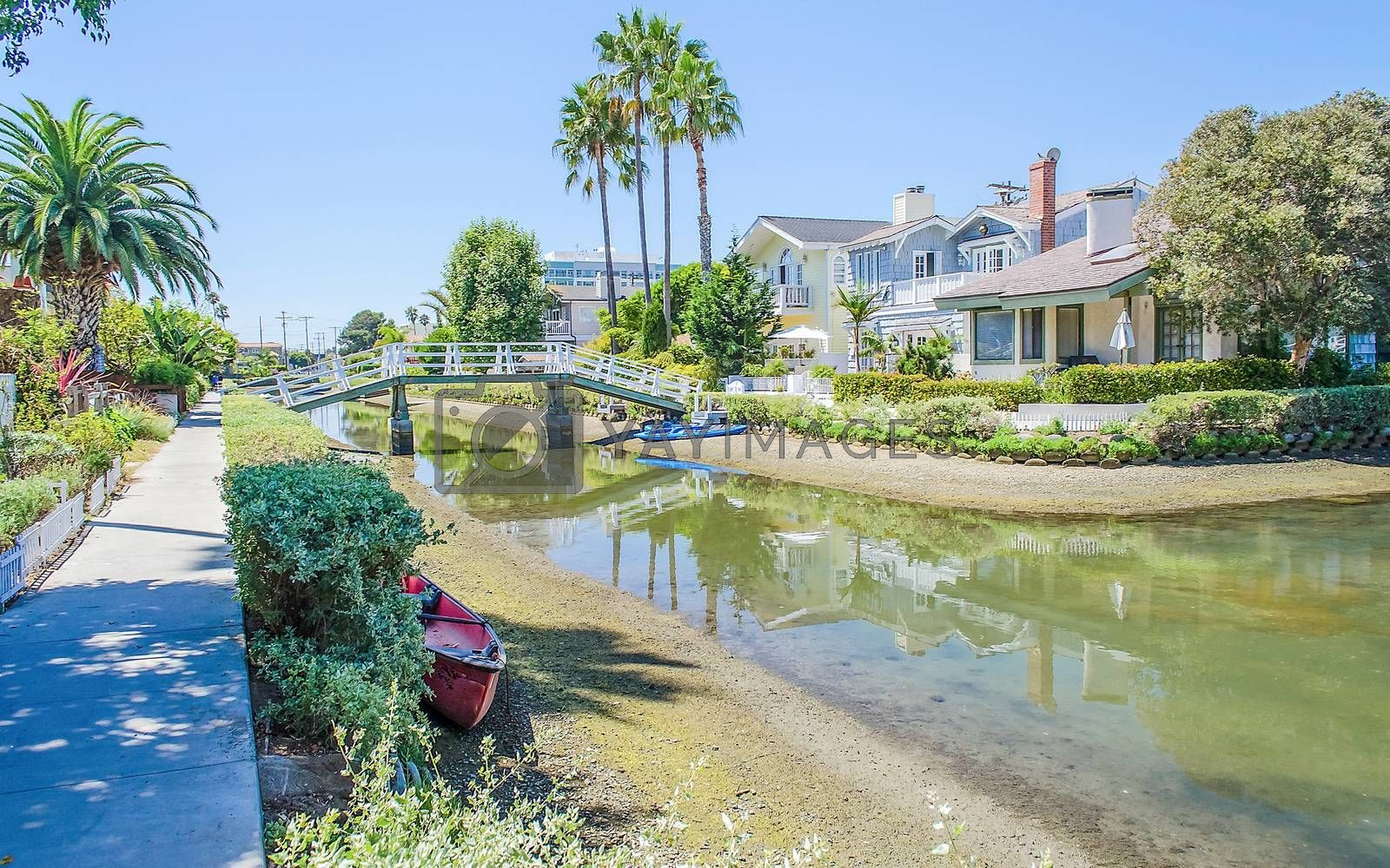 Residential area with canals in Venice Beach, Los Angeles, California