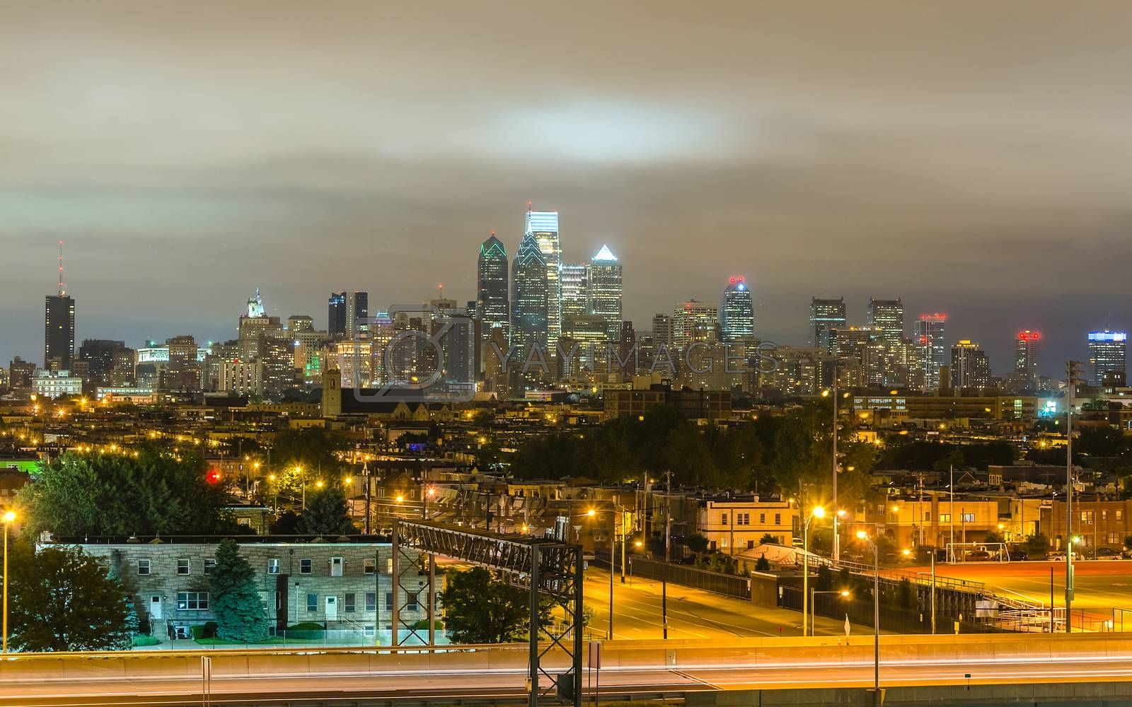 Philadelphia skyline at night as seen from the Stadium District, Pennsylvania, USA
