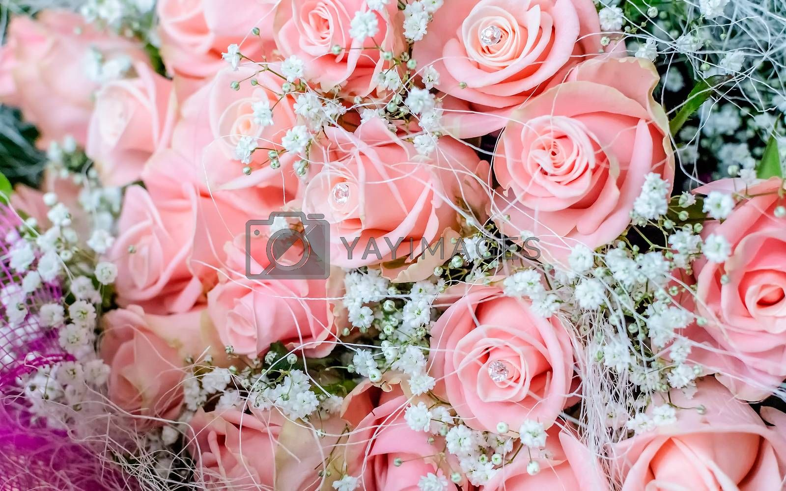 Bouquet of pink roses with small briliants. Romantic concept for Valentine's Day