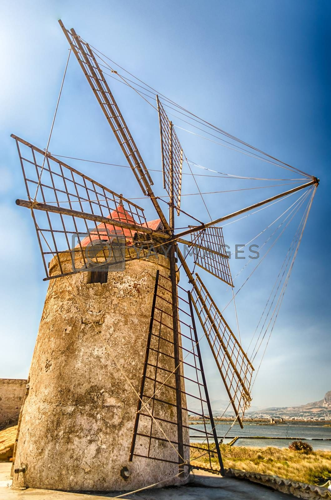 Old windmill for salt production in Motya near Trapani, Sicily, Italy