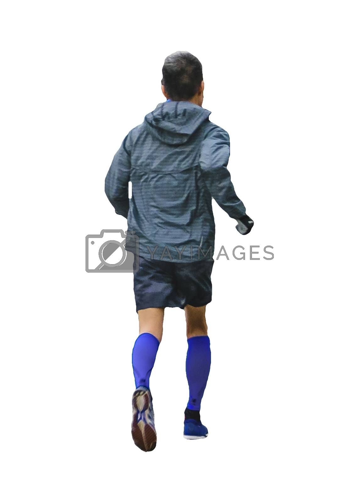 Adult thin man running photo isolated against white background