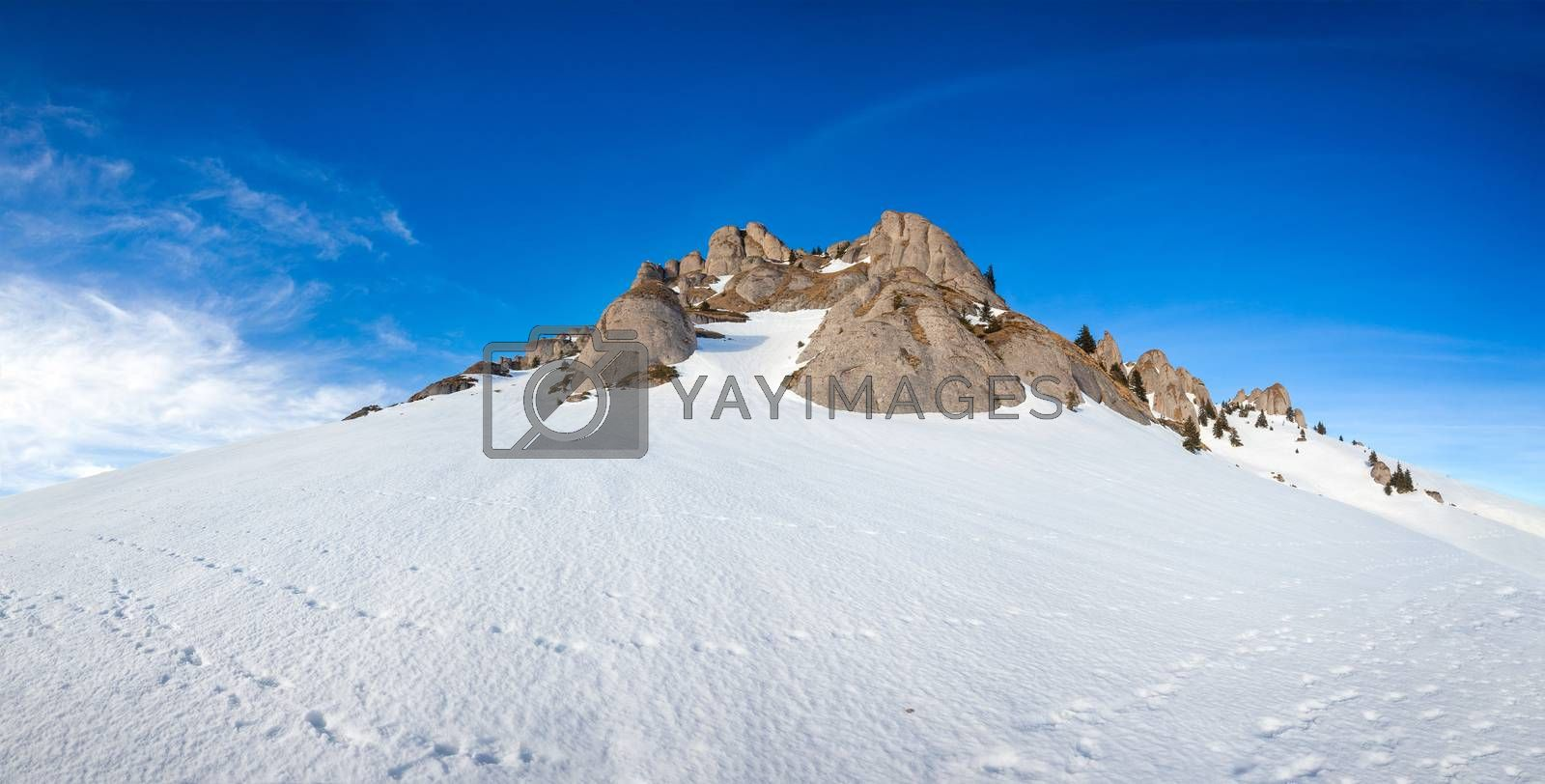 Panoramic view of Mount Ciucas peak covered in snow at sunset on winter, part of Romanian Carpathian Range