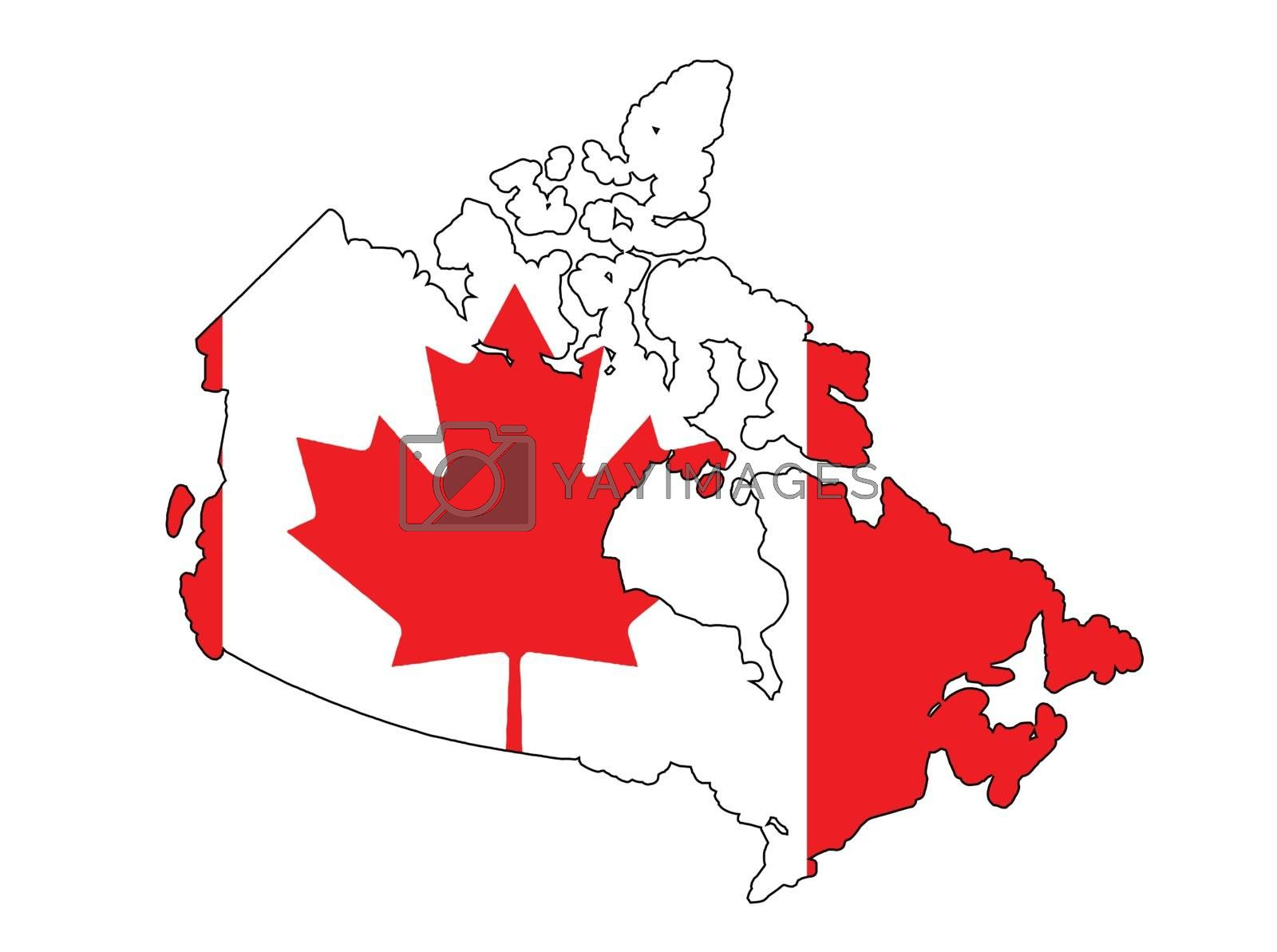 Outline map of Canada over a white background with the national flag background