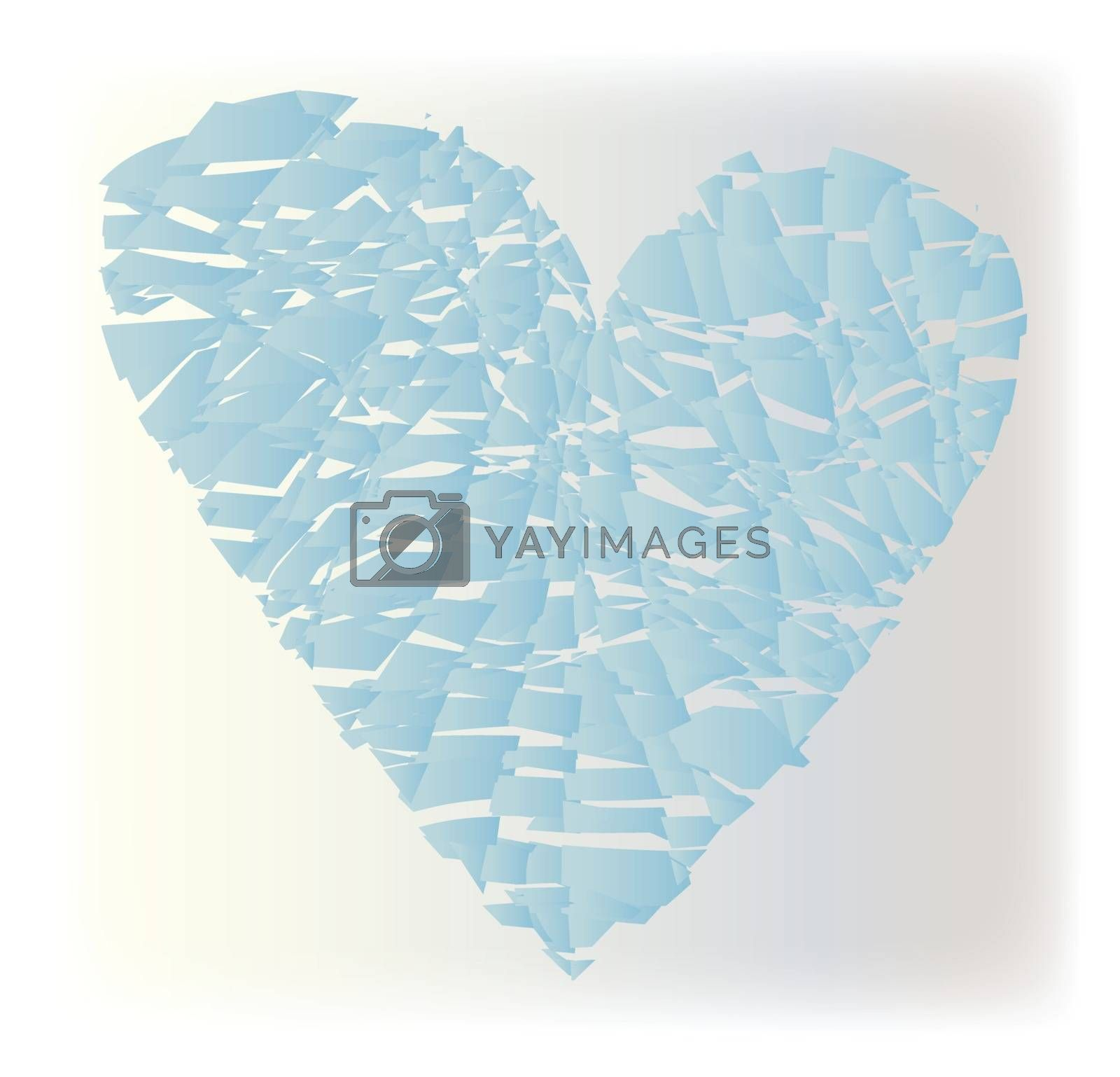 An abstract heart of shatterd glass over a white background