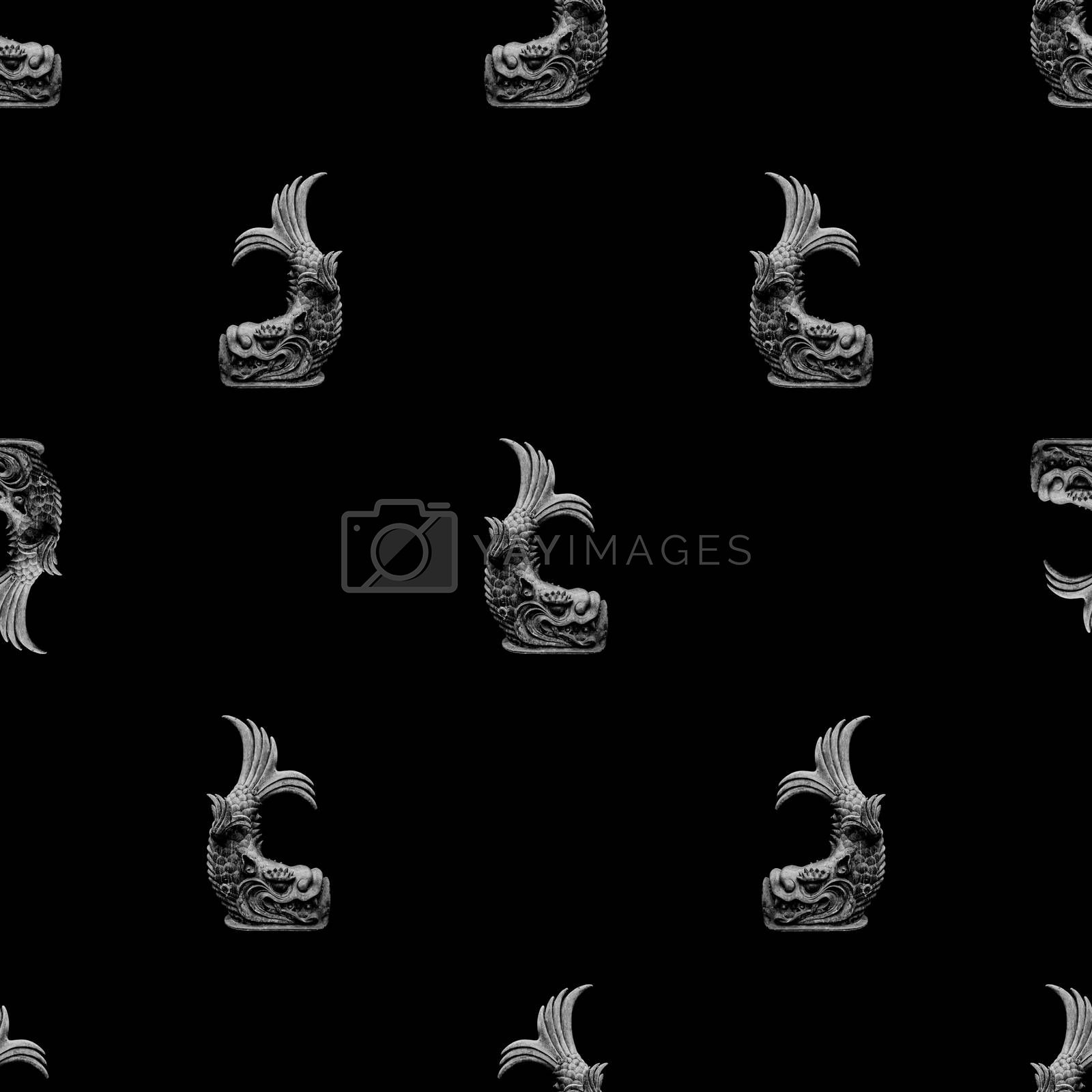 Conversational seamless pattern design mythological fish stone sculpture motif in black and white colors