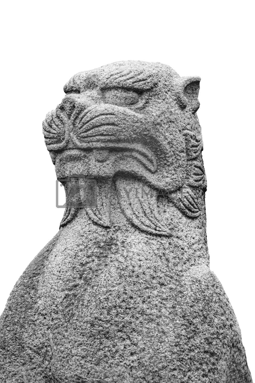 Japanese mythological feline stone sculpture isolated on white background
