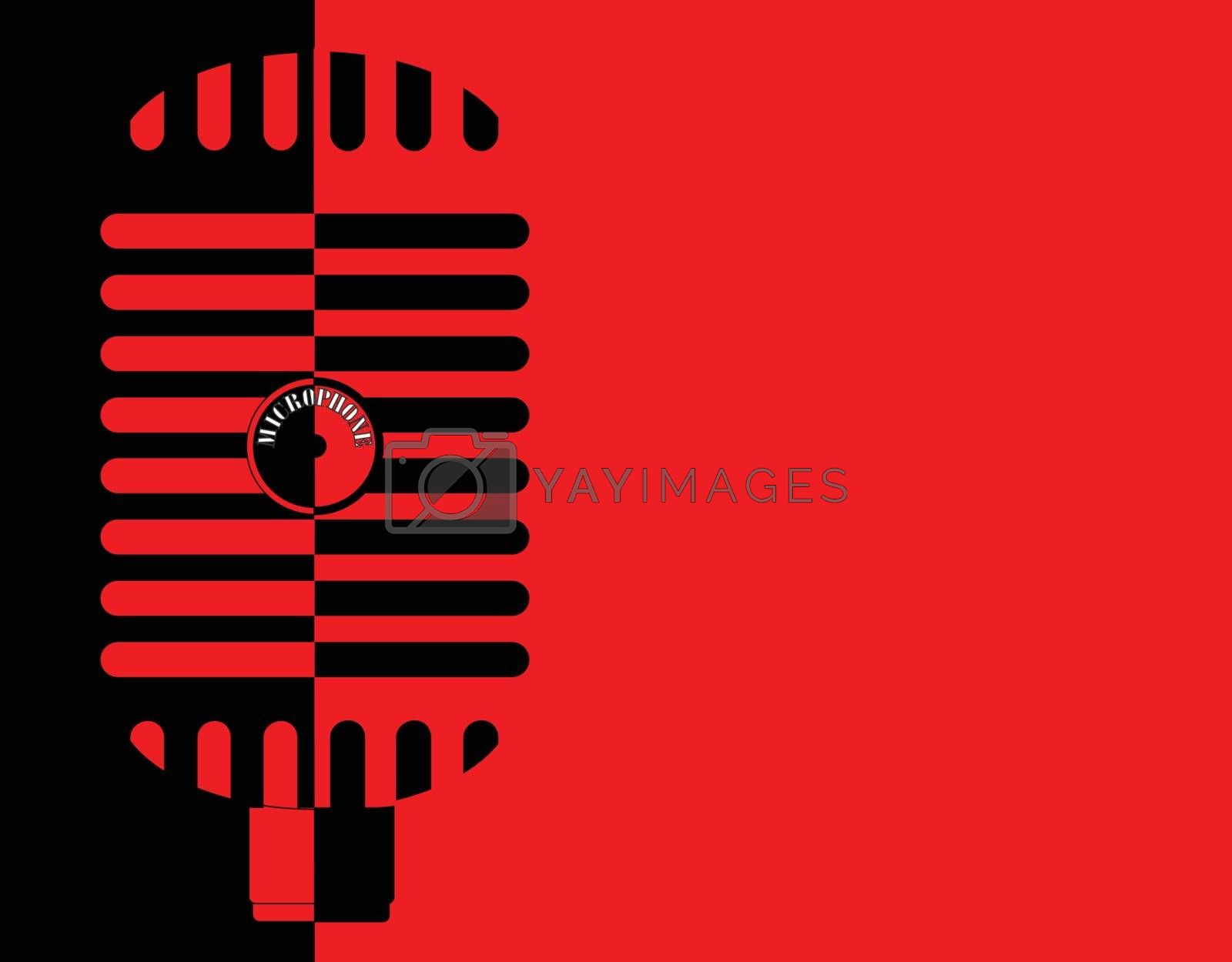 A classic old style microphone in red and black isolated on a red and black background