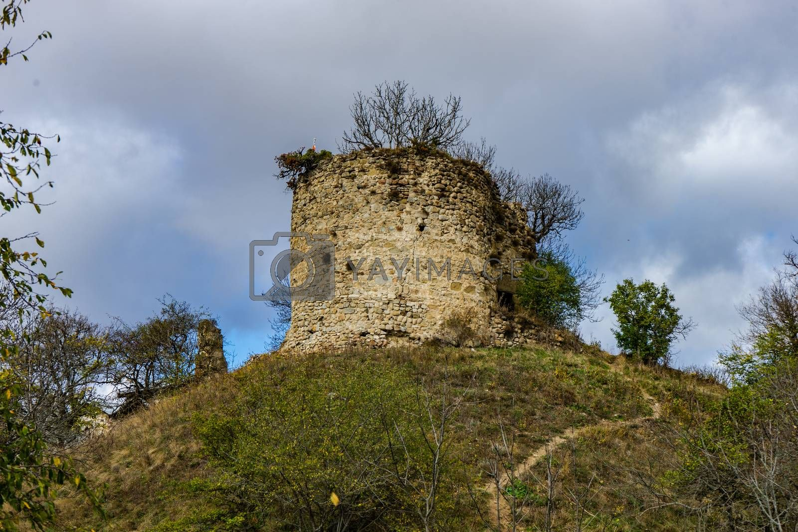 Famous Bochorma castle town ruins in Caucasus mountain in Georgia