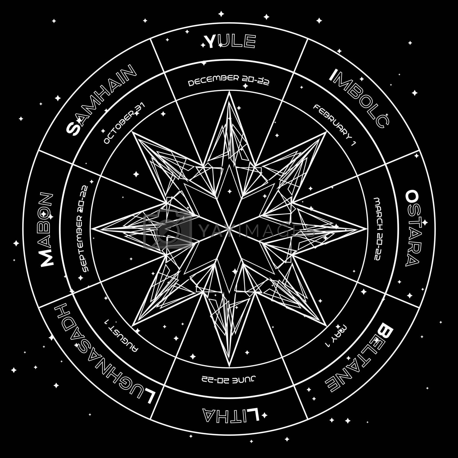 Geometric octagonal star in pagan wheel of the year on starry space background