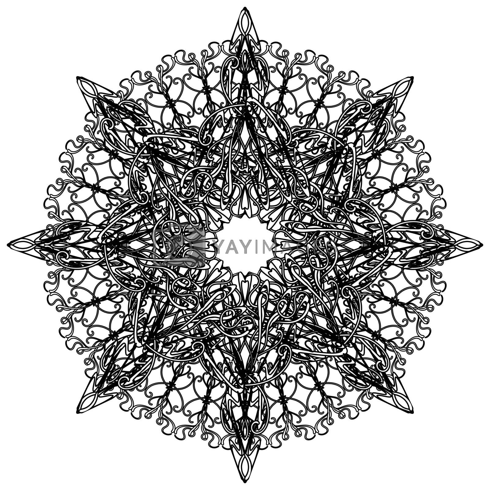Black lace mandala with elegant delicate tracery in gothic style