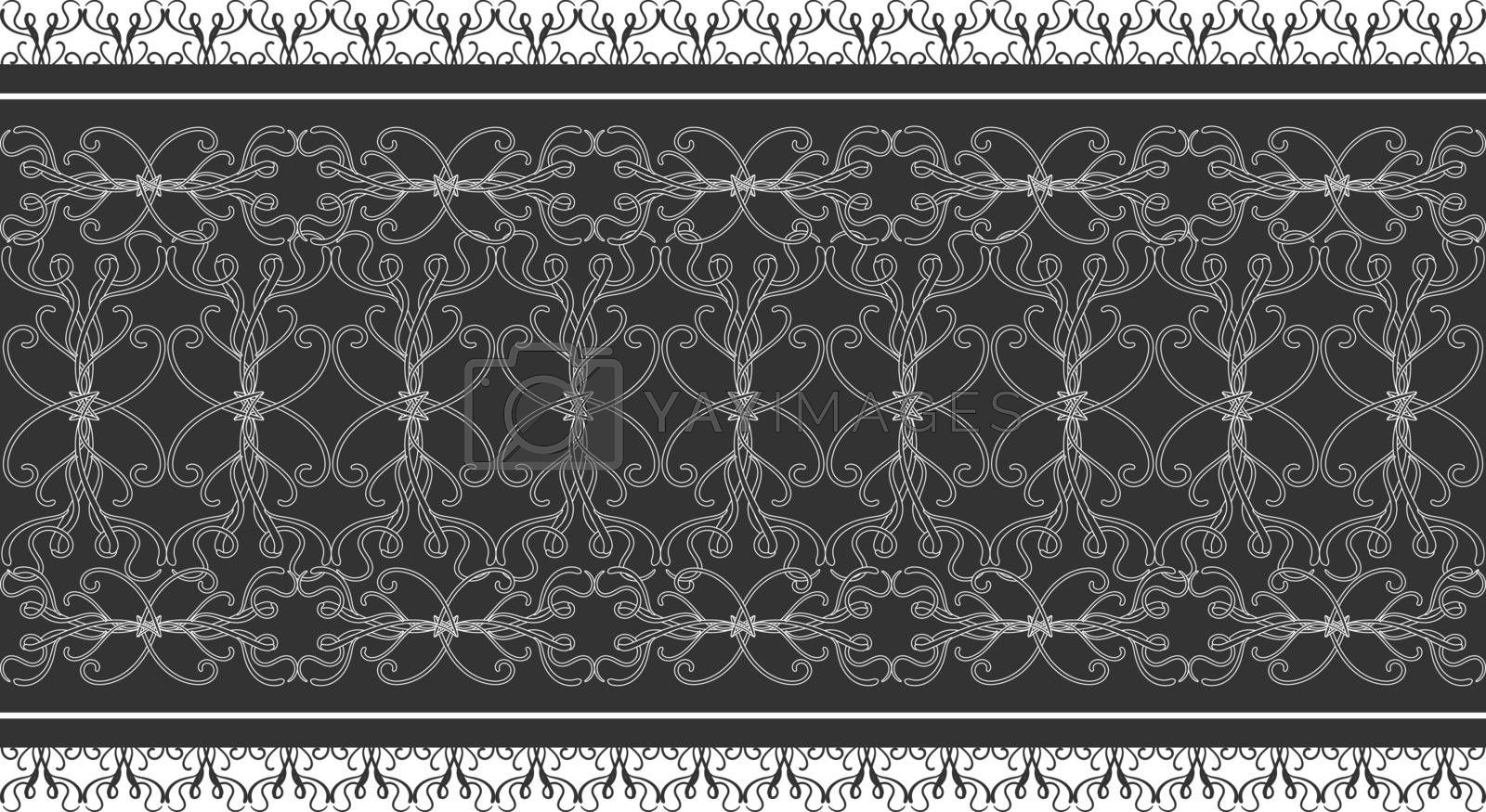 Elegant seamless lace edge with filigree victorian tracery on dark grey background