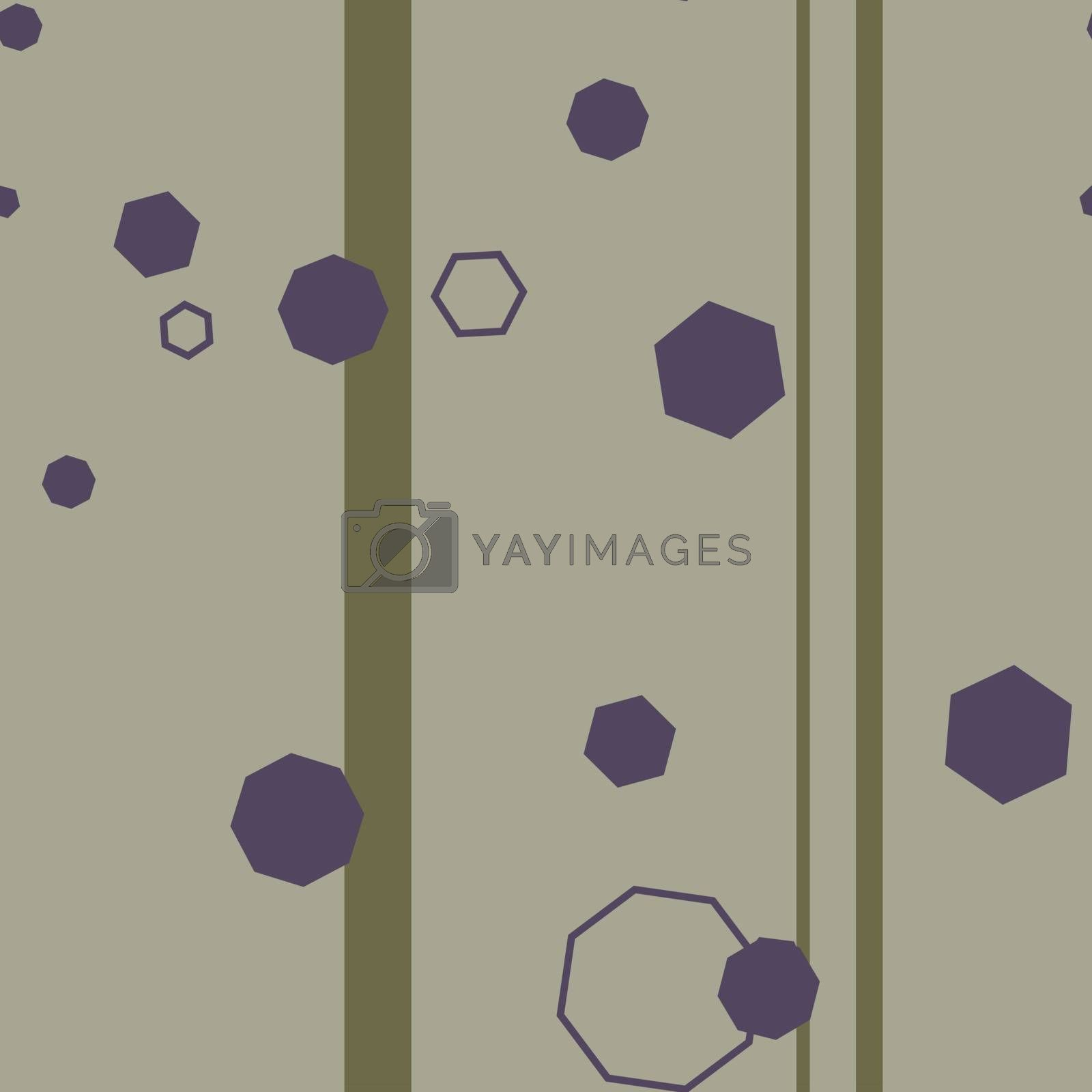 Seamless pattern in minimalistic style with violet hexagons on beige striped background