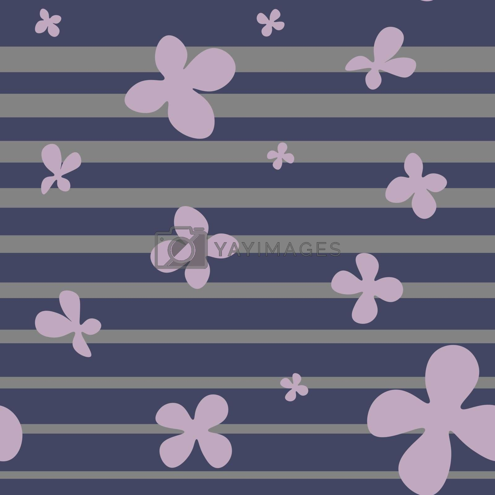 Seamless pattern in minimalistic style with simple lilac flowers on dark blue striped background