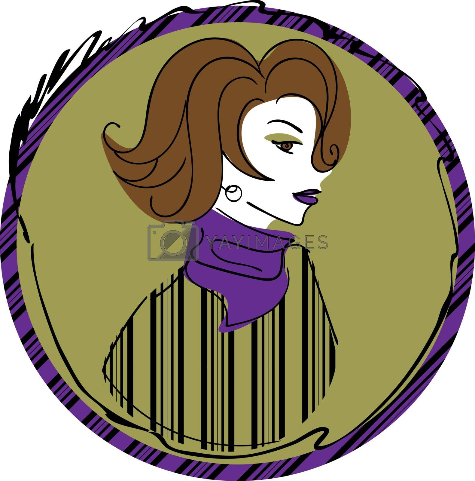 Vintage woman with violet lipstick and short wavy hair in striped sweater and violet scarf in dark yellow circle