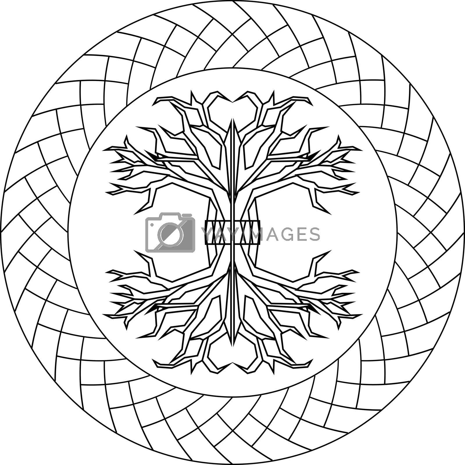 Contour old scandinavian pagan tree of life yggdrasil in ornamented circle
