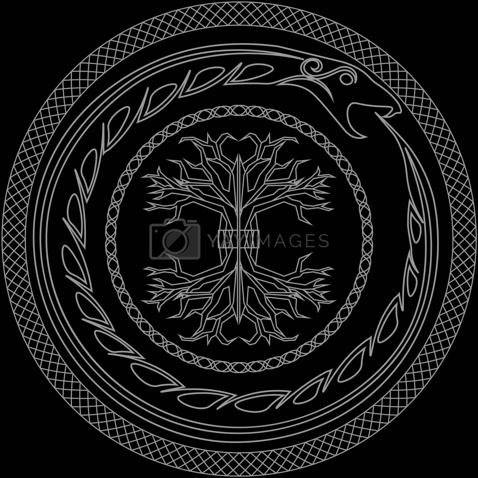 Contour old scandinavian pagan symbols yggdrasil and ouroboros in ornamented circles