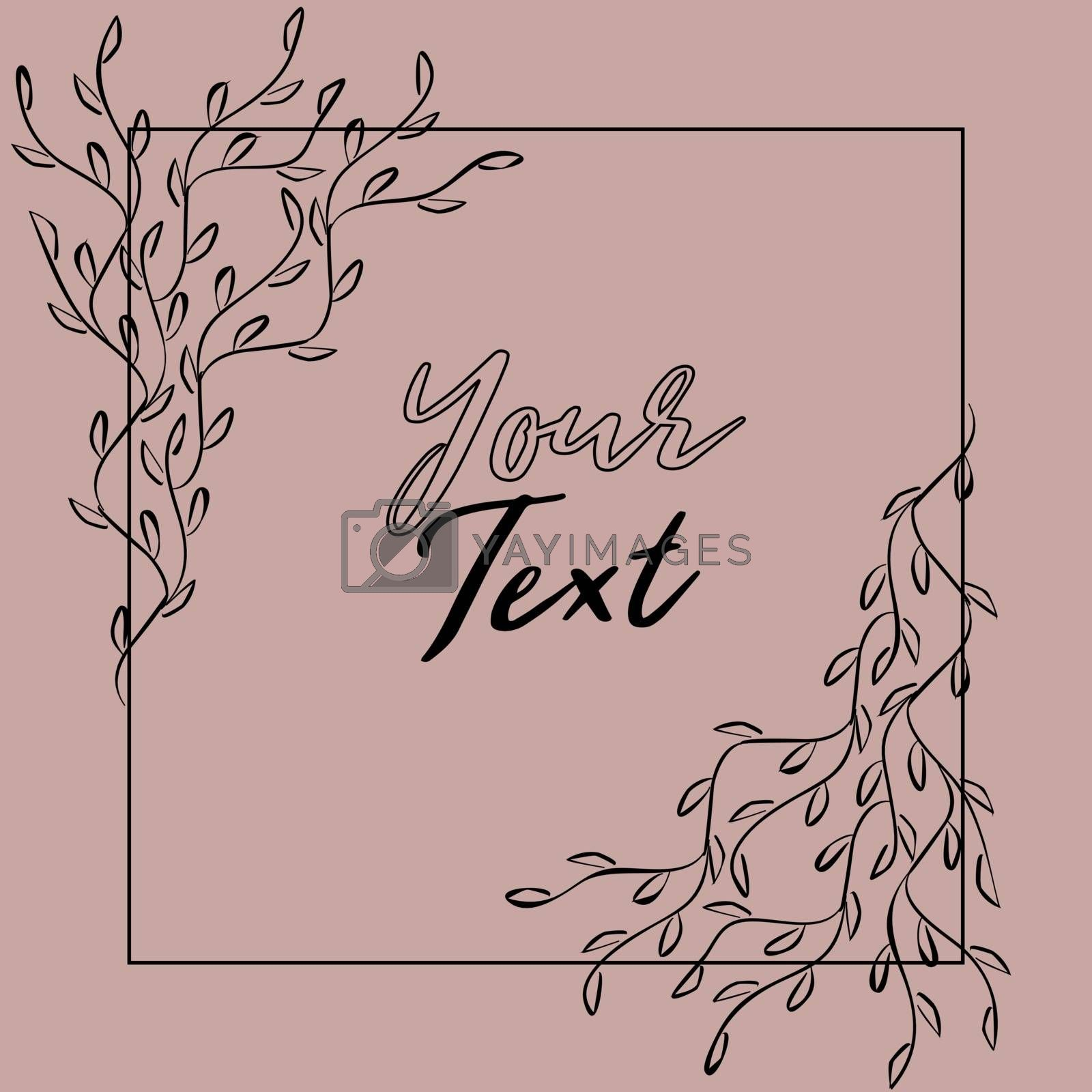 Romantic frame with symmetric tender sketch branches and text template on pink background