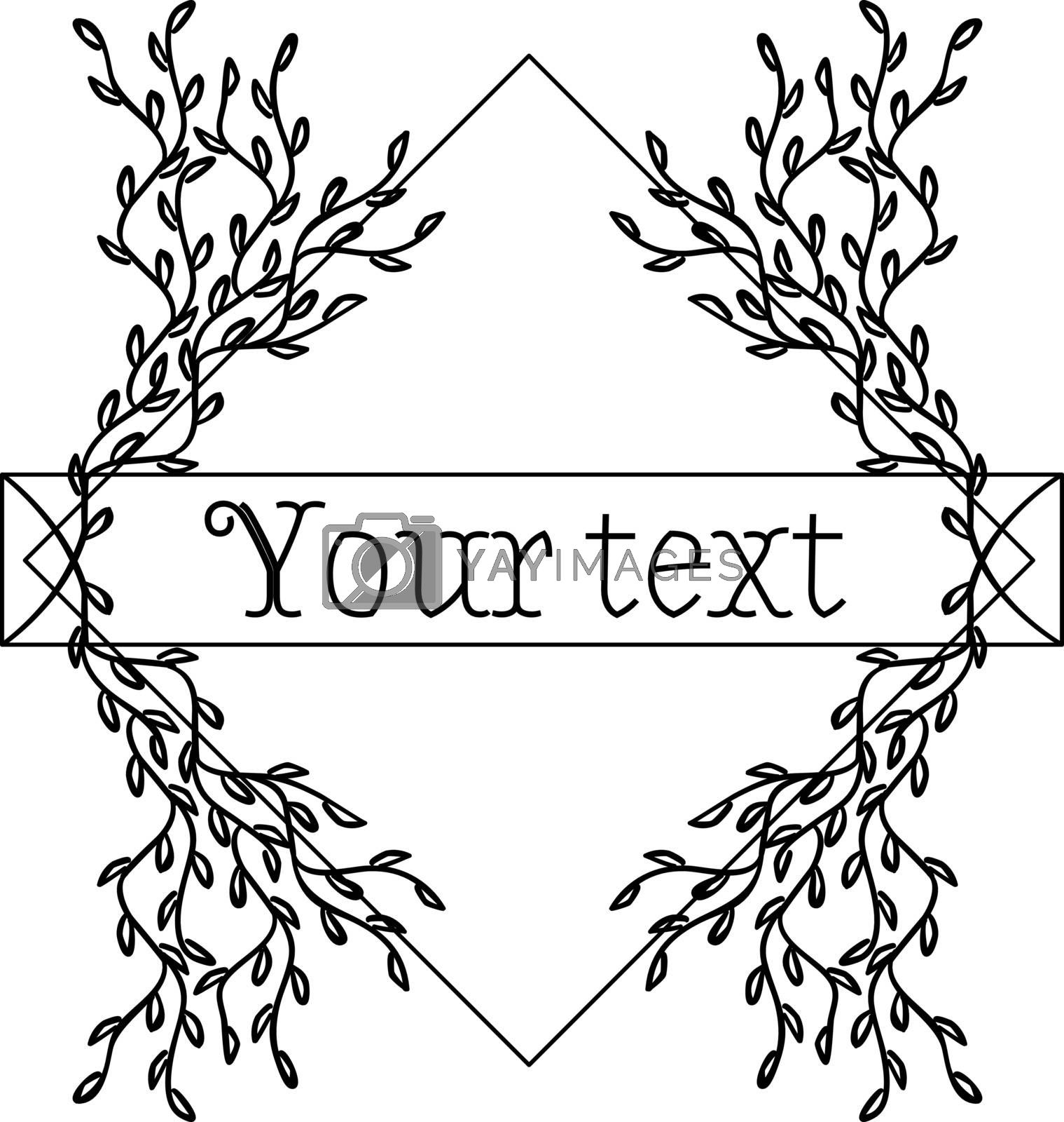 Romantic frame with symmetric tender sketch branches and text template