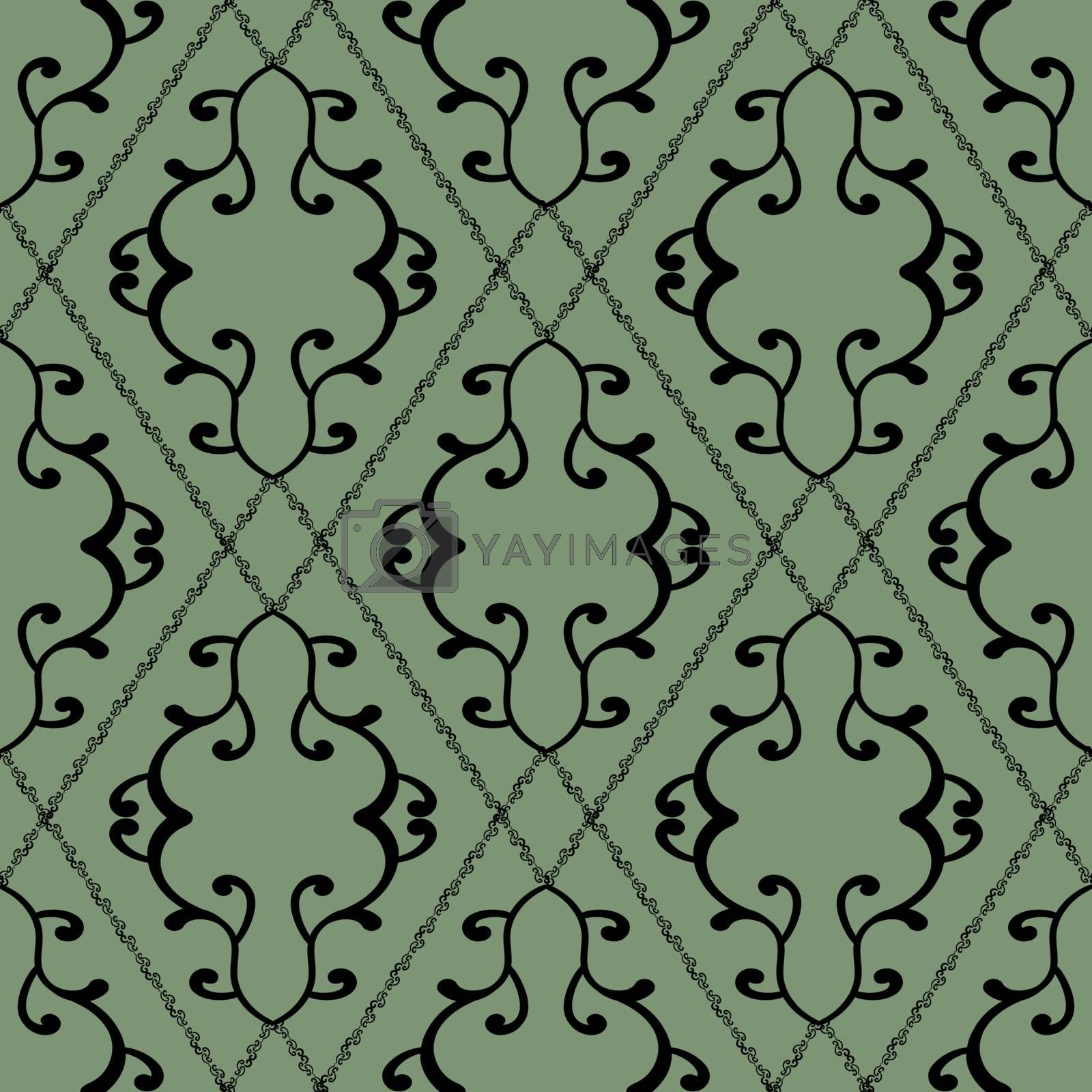 Old-fashioned wallpaper in victorian style with black seamless foliate pattern on pastel green background