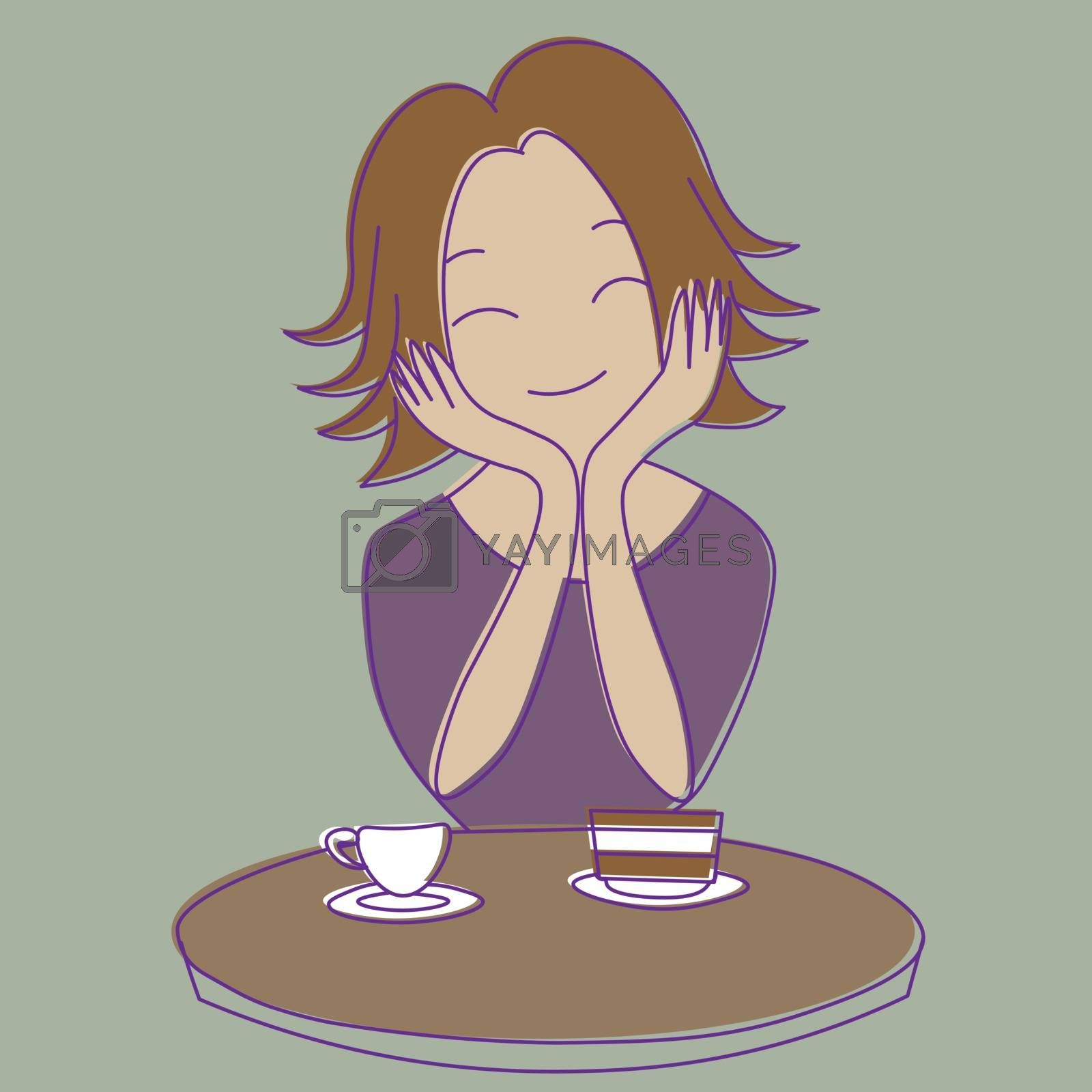 Cute cartoon happy girl with short hair sitting at the table with cake and cup of tea or coffee