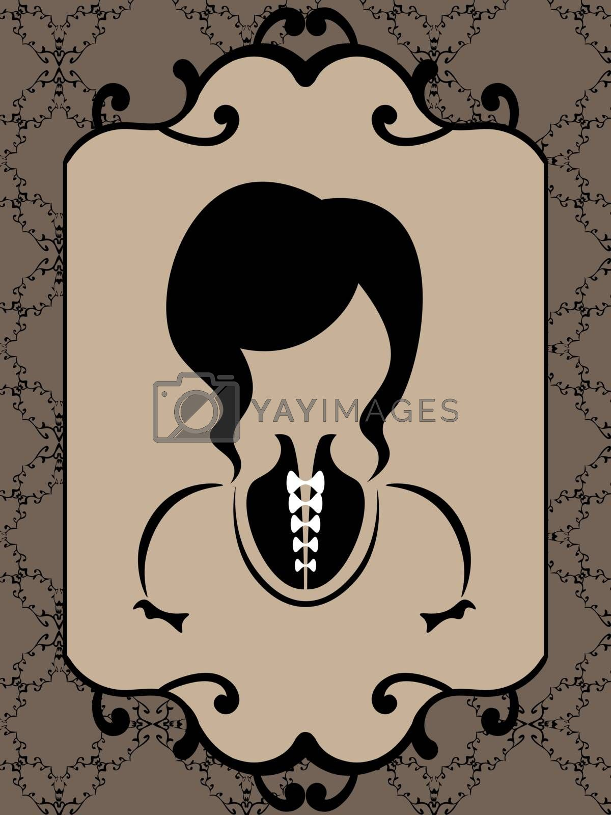Old-fashioned minimalistic faceless woman in the mirror in sepia tones