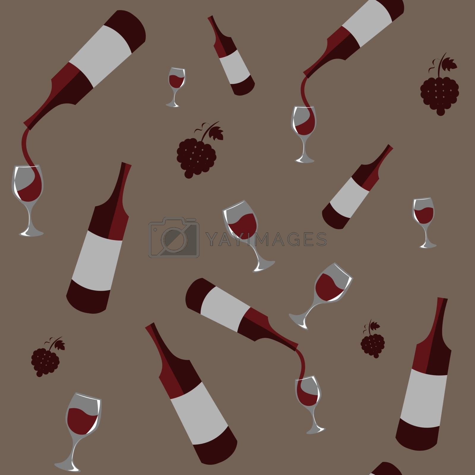 Seamless pattern with several bottles of red wine pouring into glasses on dark beige background