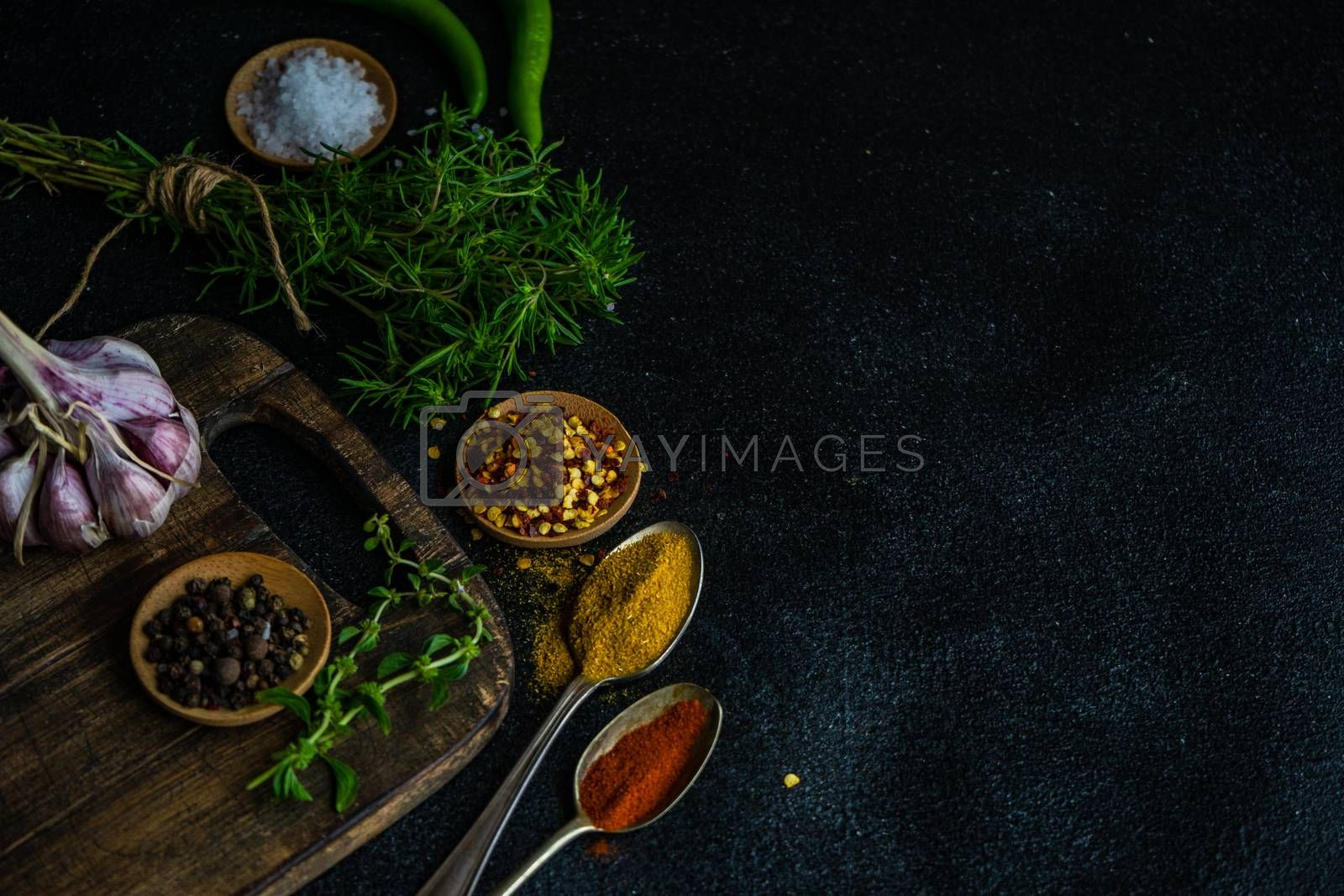 Cooking concept with traditional georgian herbs  ombalo and kondari