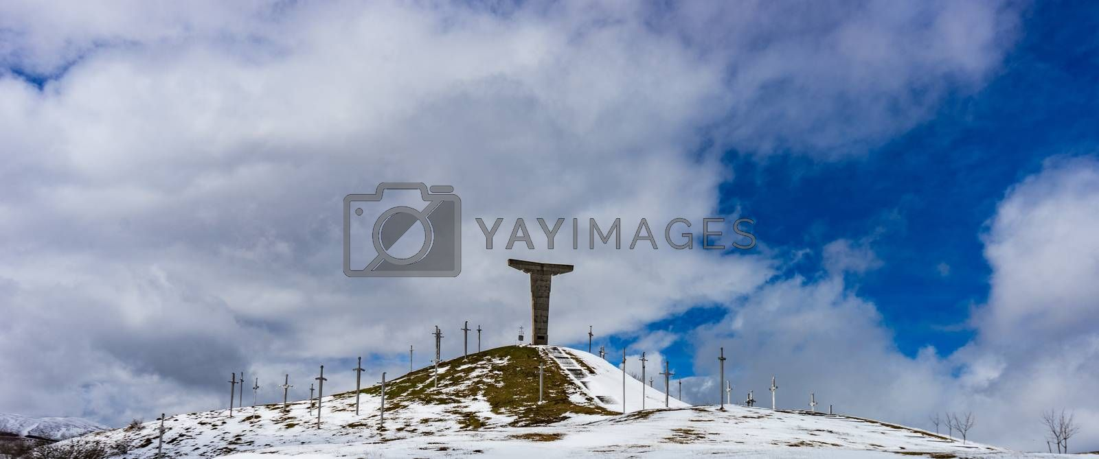03 APRIL 2019, GEORGIA, TBILISI, Famous Didgori battle monument with giant swards and sculptures of soldiers close to Tbilisi in Caucasus mountain range