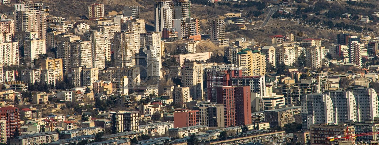Modern downtown Vake Saburtalo area with soviet and  uptodate archiecture of Tbilisi, capital of Georgia