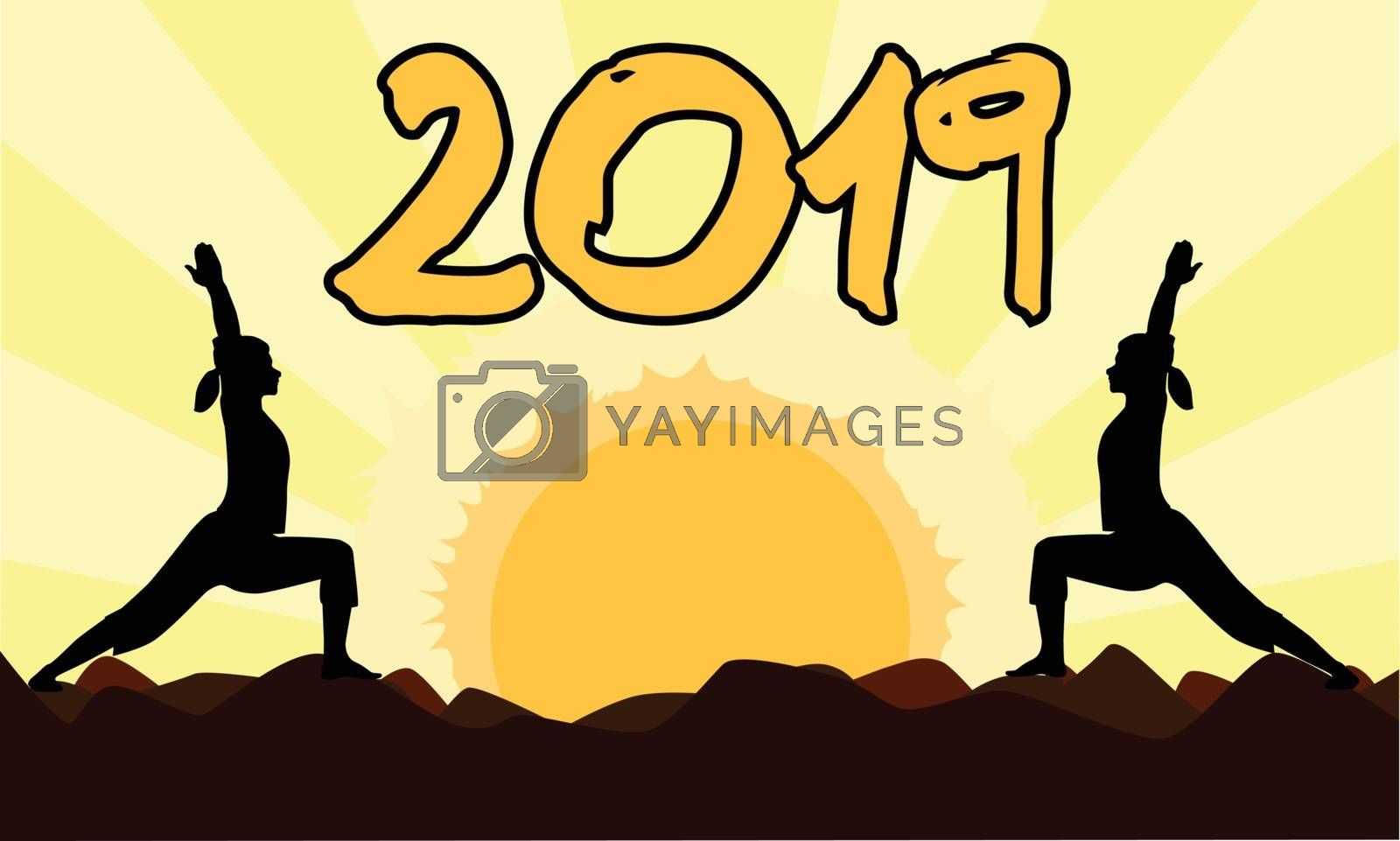 2 yoga poses performed by young women in silhouette set against a yellow sunset with the date 2019