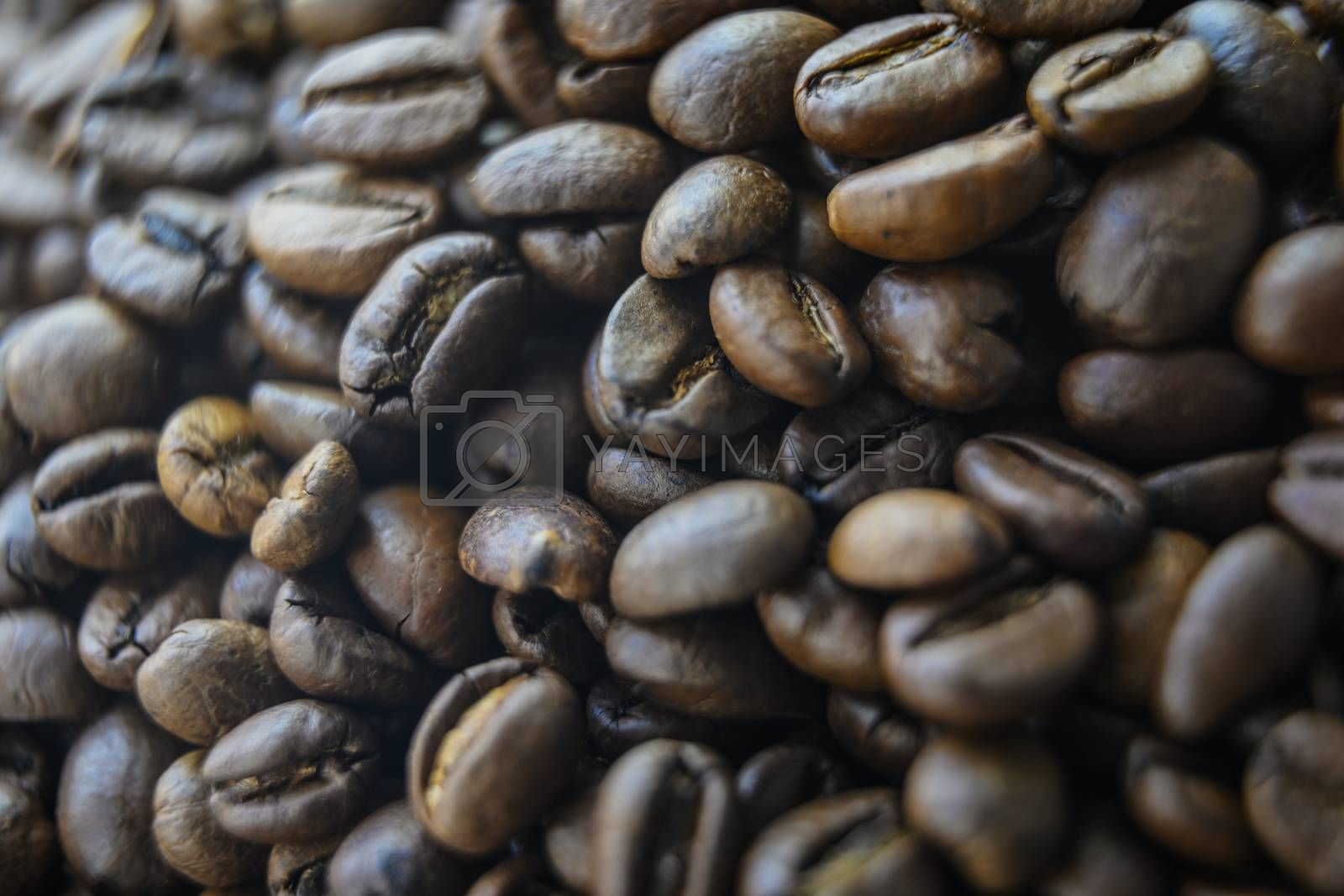 Coffee beans background, top view.