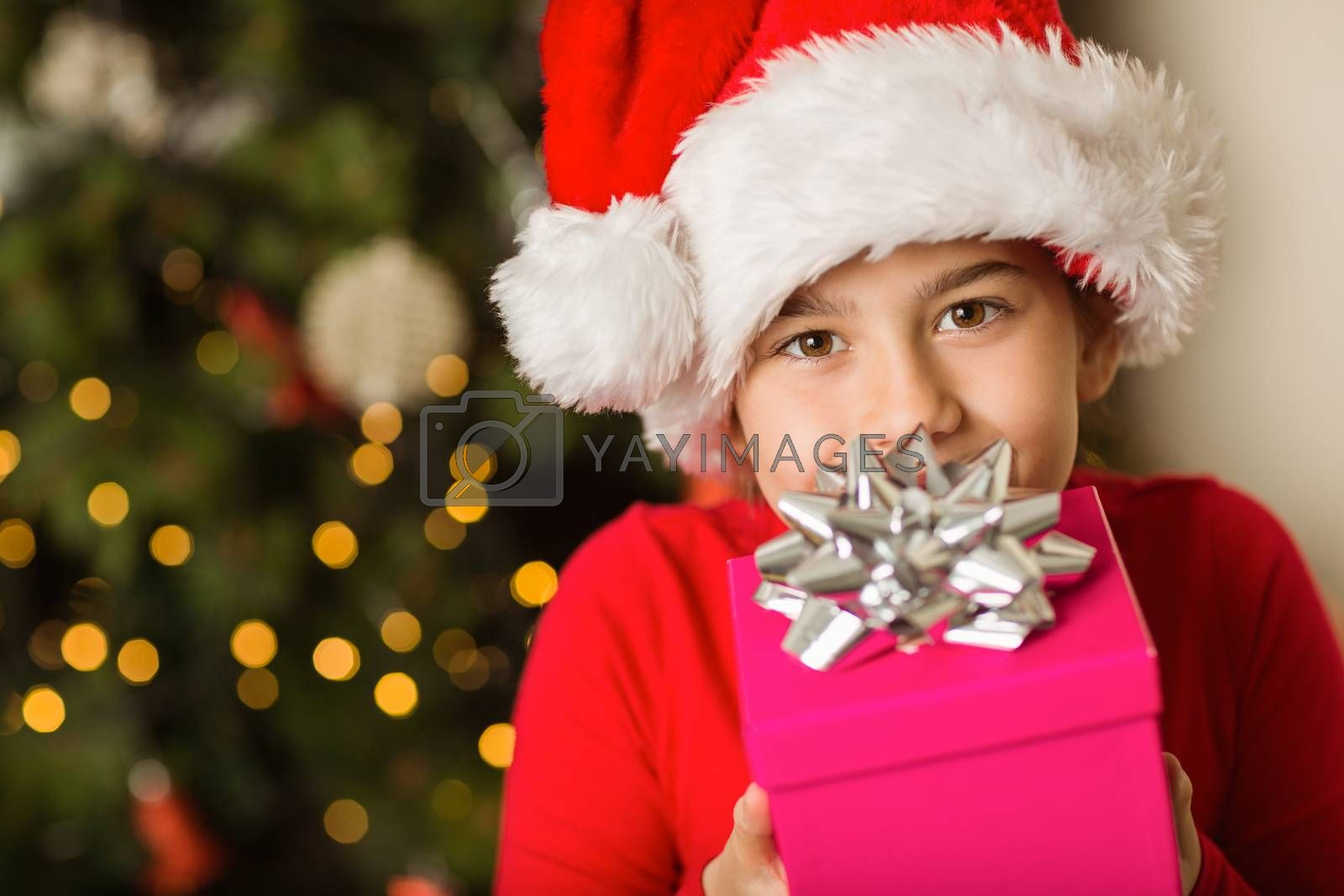 Festive little girl holding a gift at home in the living room