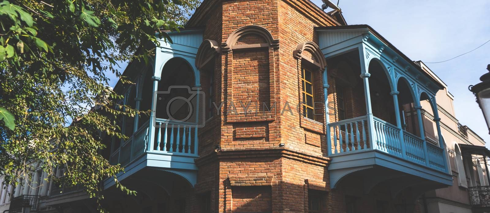 Carving balconies of old Tbilisi, traditional view of streets