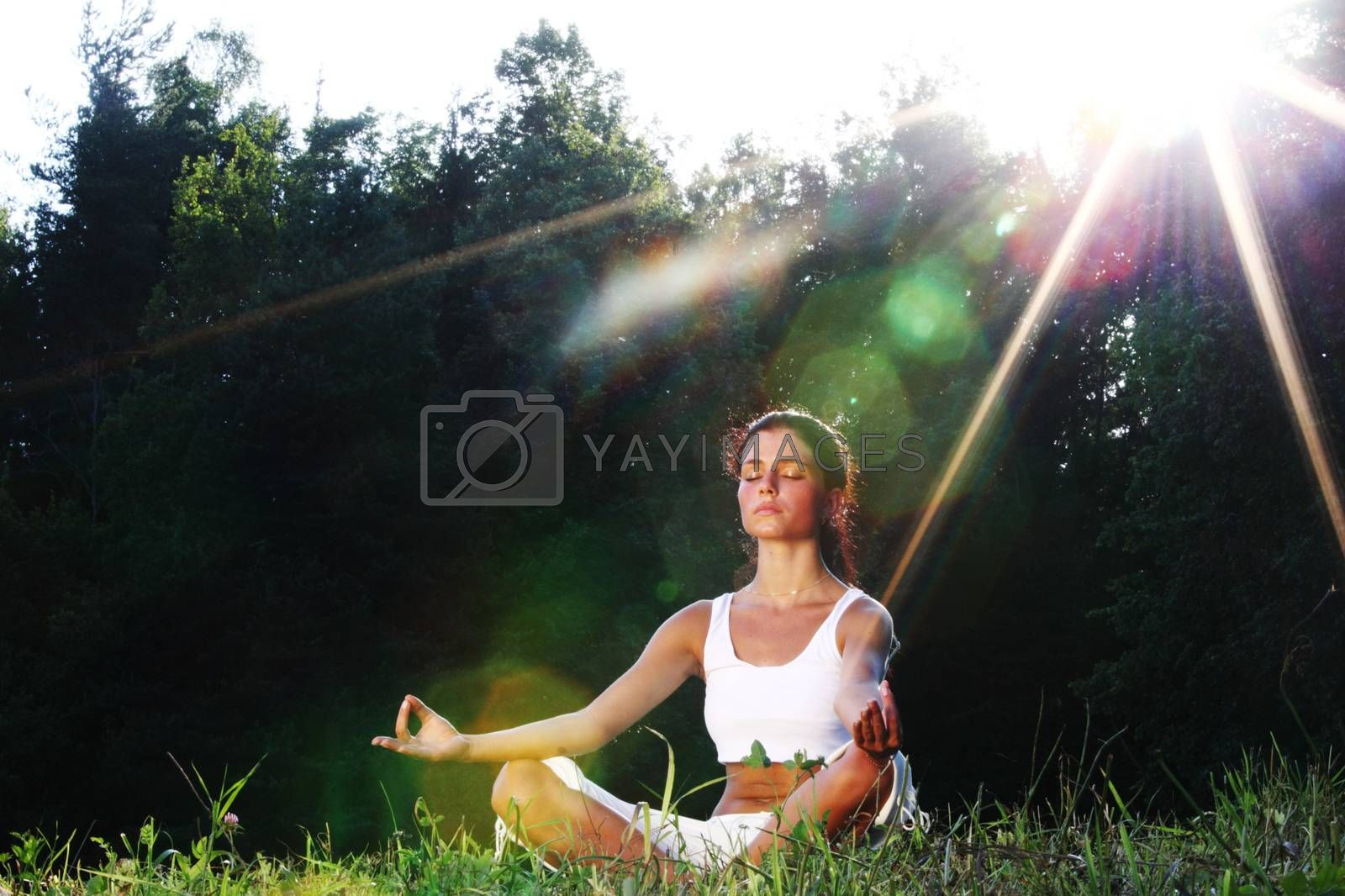 Young yoga woman on green grass lotus pose in sunrise light