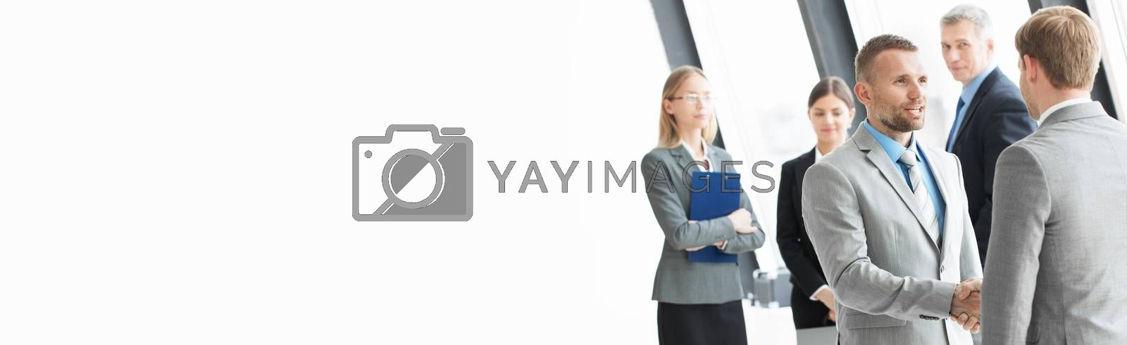 Business people shaking hands in office, successful meeting, negotiation, cooperation concept, isolated on white copy space for text
