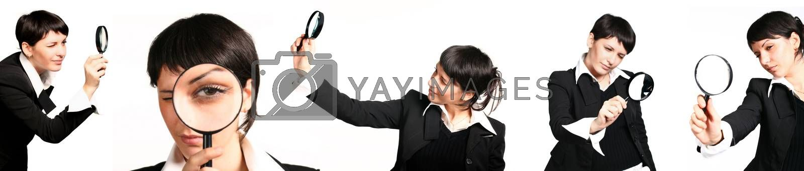 Business woman holding magnifying glass, set of pictures isolated on white background