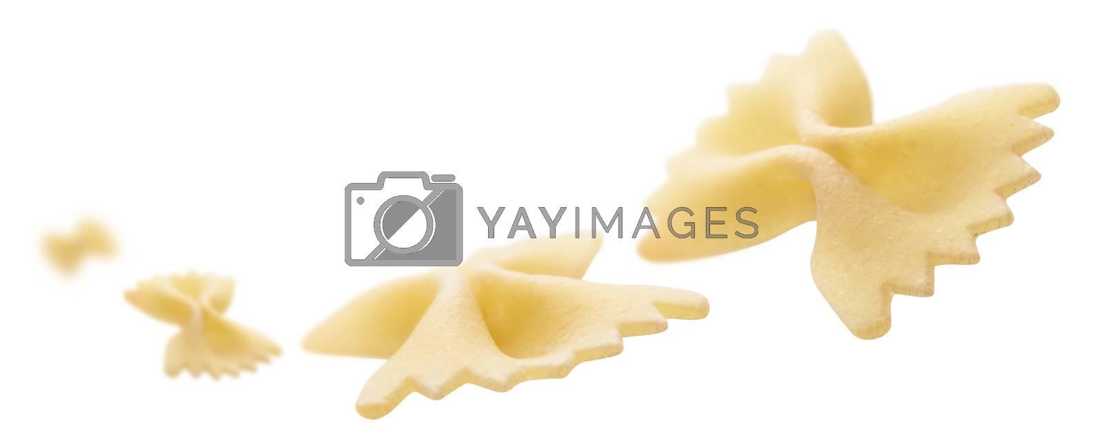 Italian pasta levitating on a white background.