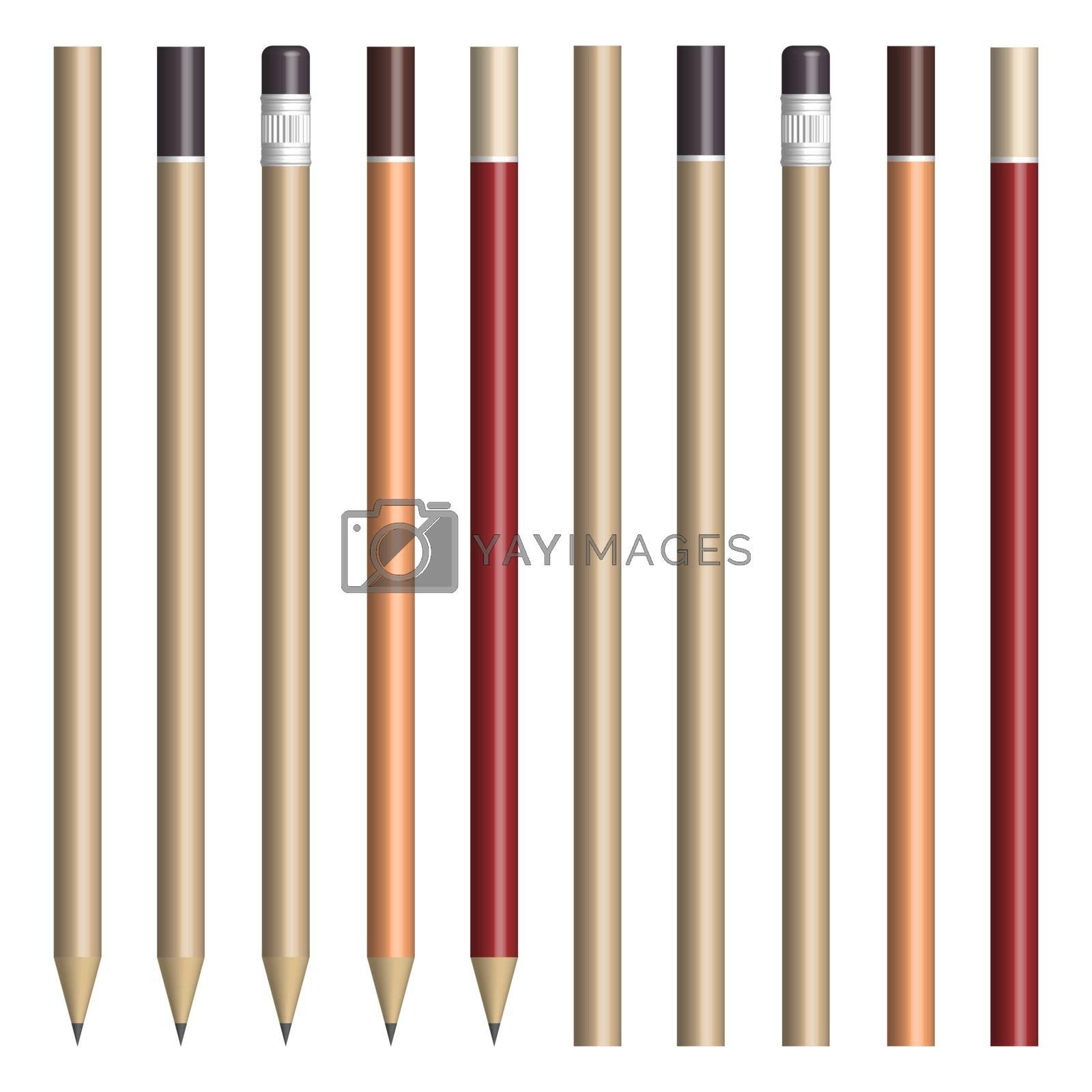 Set of pencils for sketching, vector illustration. by kup1984