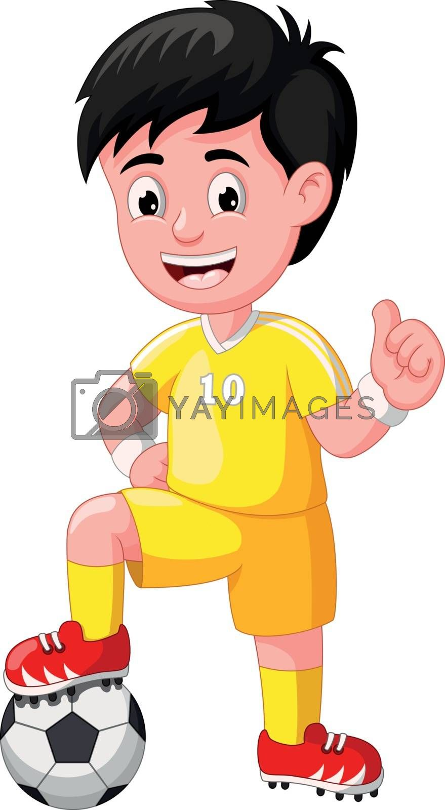 Cool Football Soccer Player Boy In Yellow Uniform Cartoon for your design