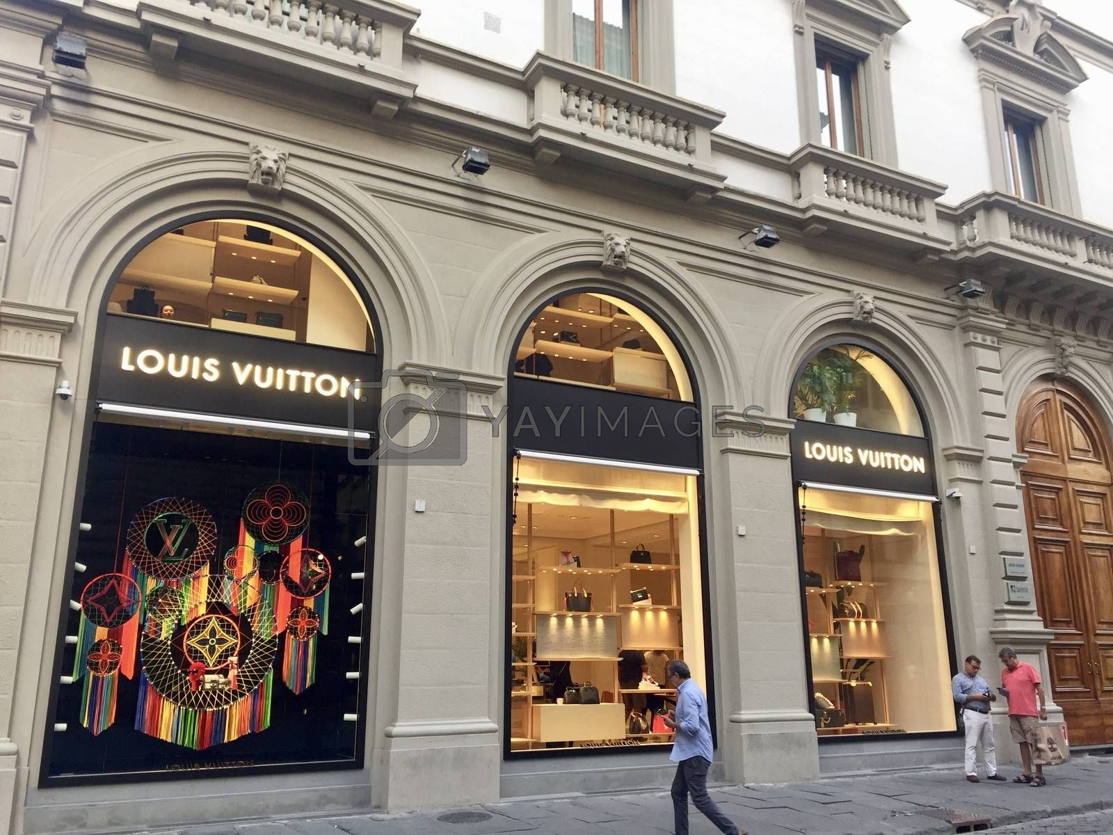 Florence, Italy - August 24, 2019: Facade of Louis Vuitton store in the center of Florence.