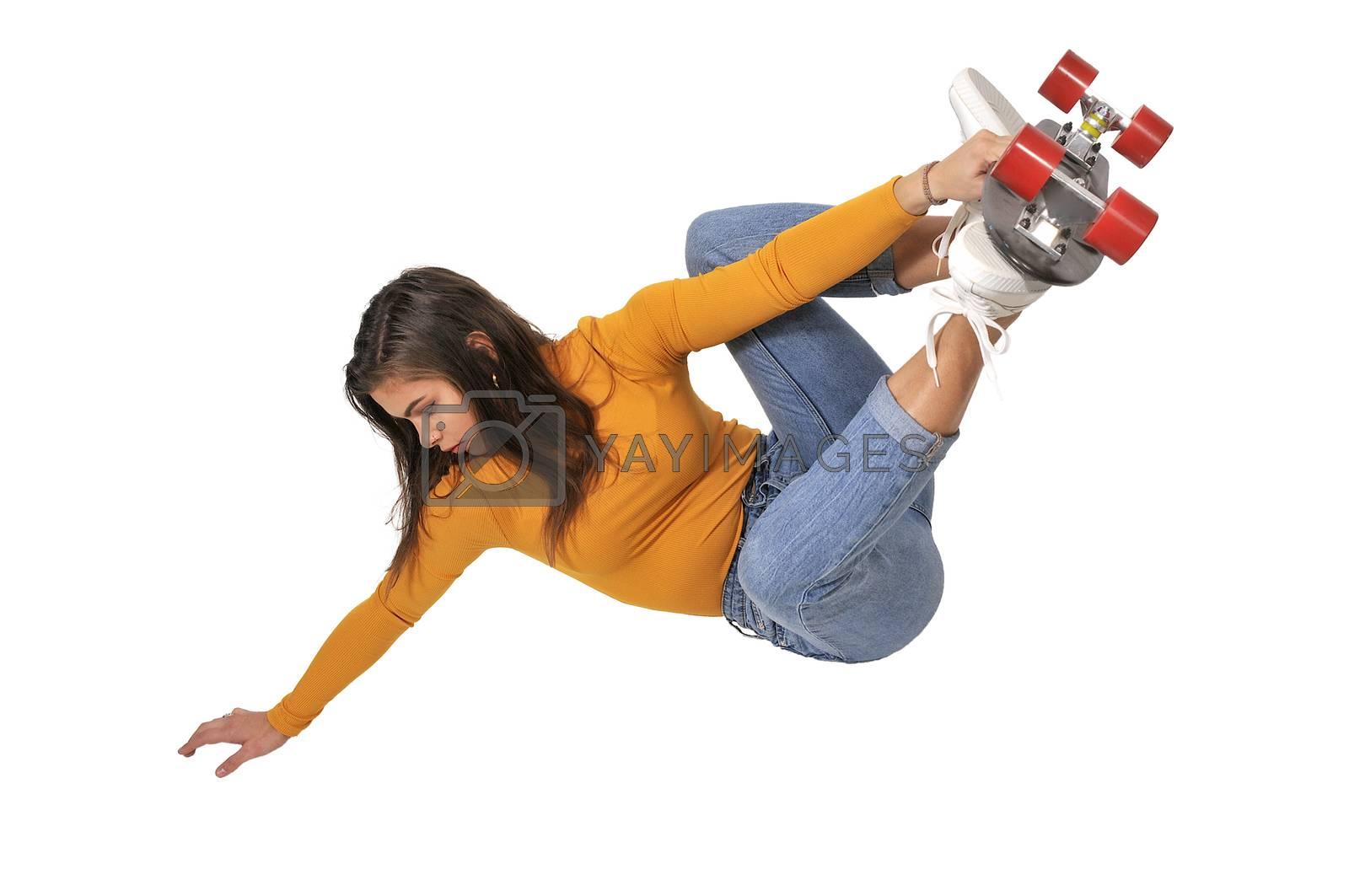 Woman riding skateboard by robeo