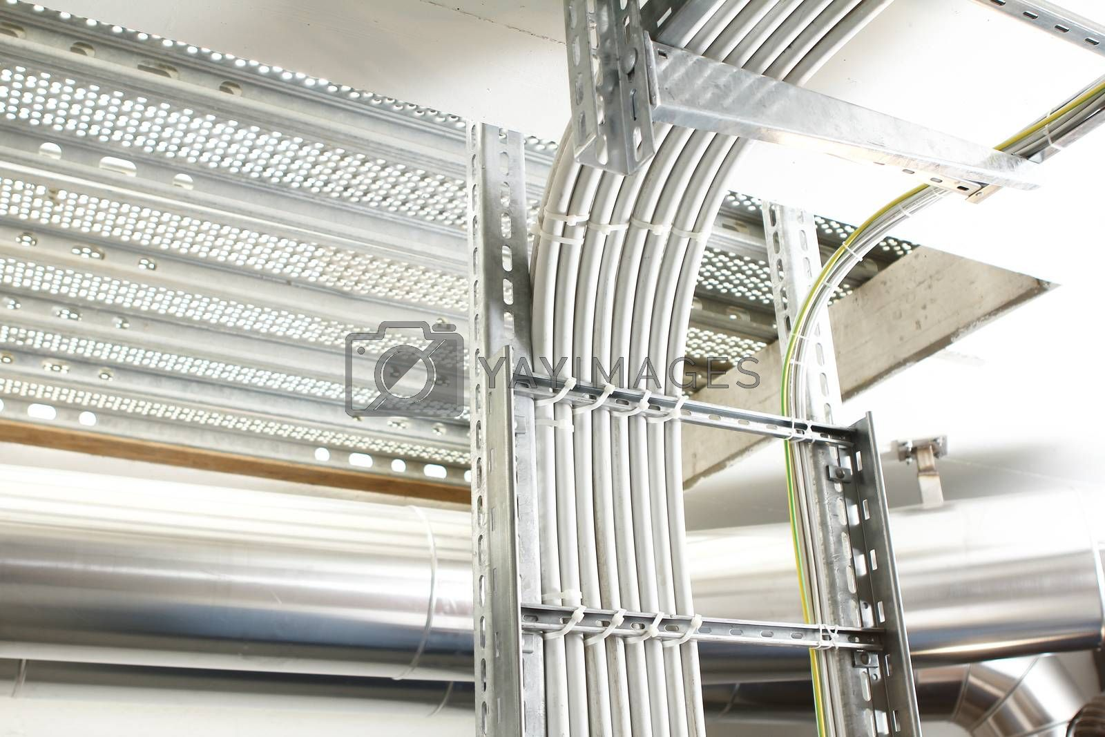 chrome pipes in heating and AC rooms in buildings of factories and hospital and several pipes