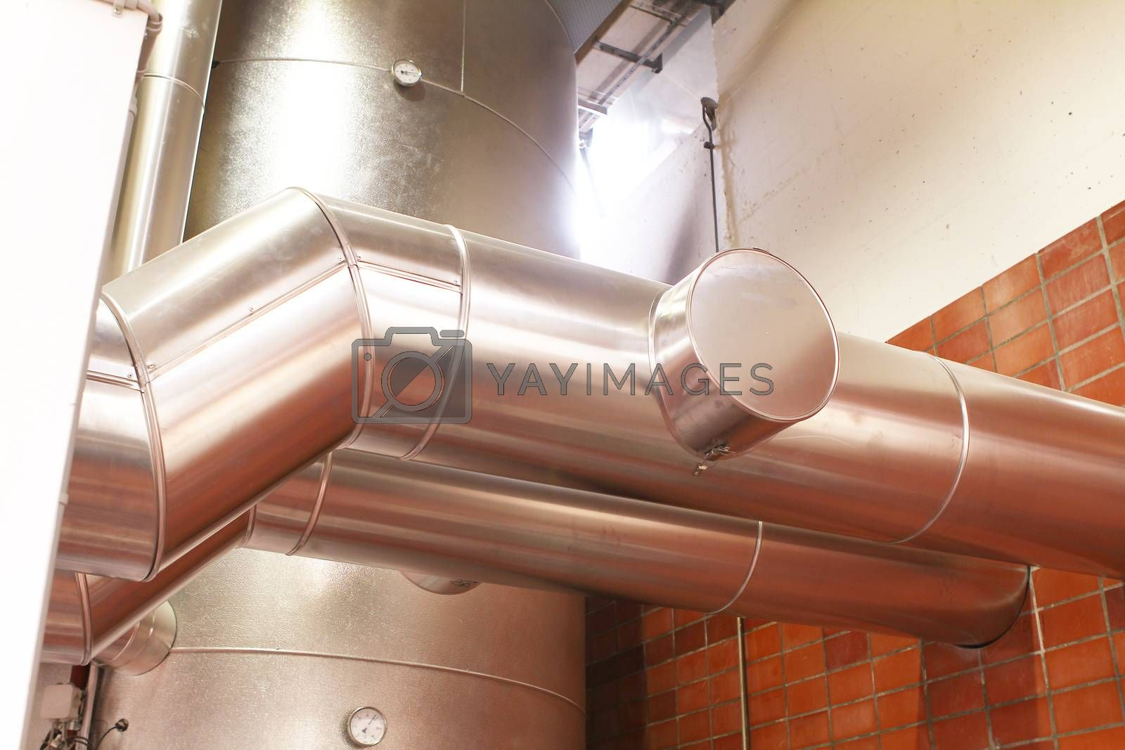 chrome pipes in heating and AC rooms in buildings of factories and hospital. With chrome color