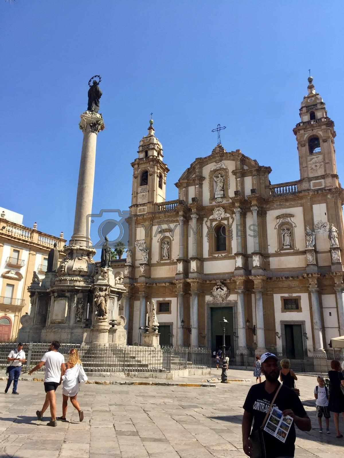 PALERMO, SICILY. Italy. August 21, 2019. Mandamento Castellamare. Chiesa di San Domenico.