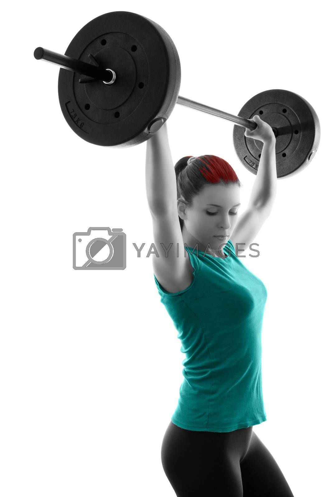 Fit attractive young woman working out with a barbell, doing shoulder press, backlit silhouette studio shot isolated on white background. Fitness and healthy lifestyle concept.