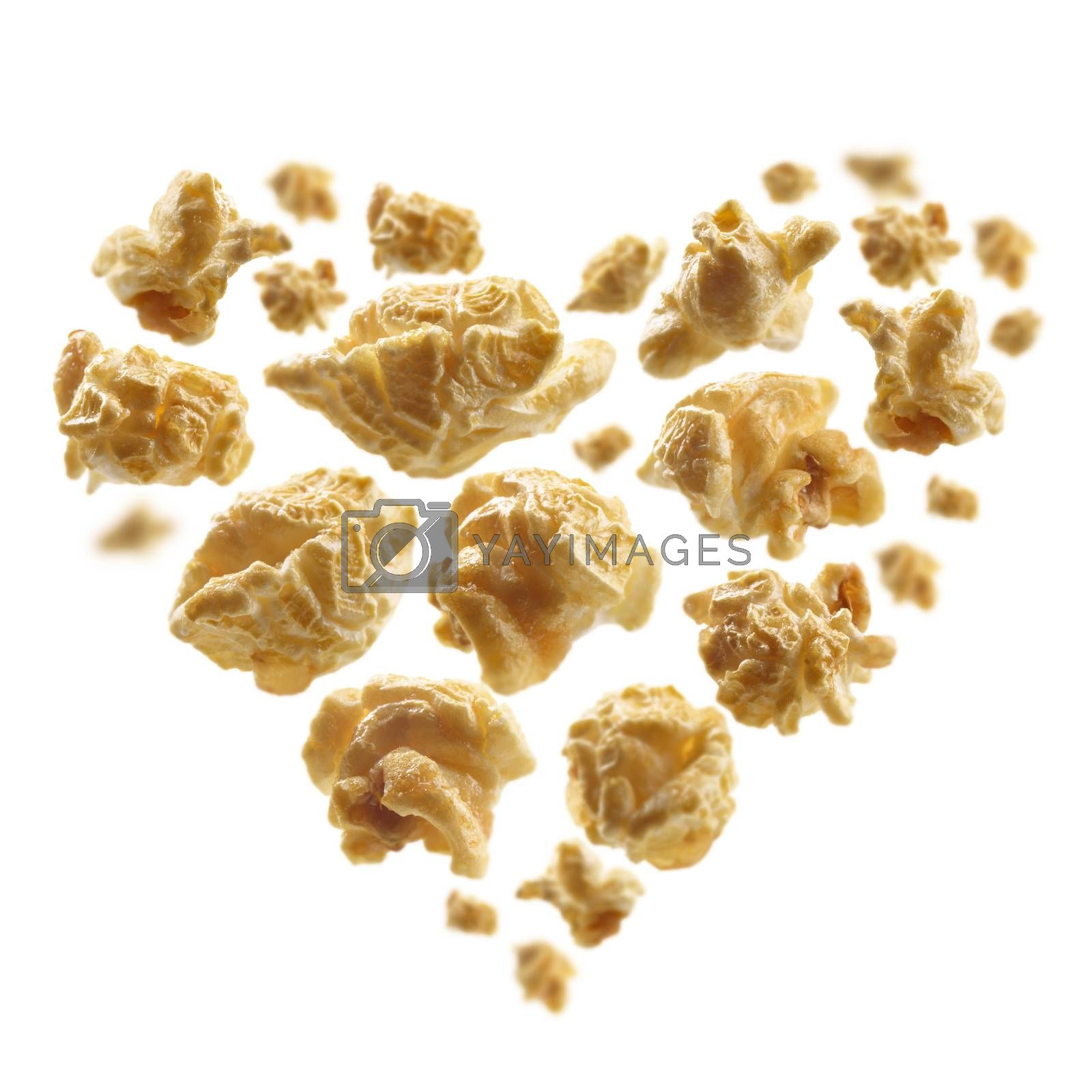 Popcorn with a taste of caramel in the shape of a heart.